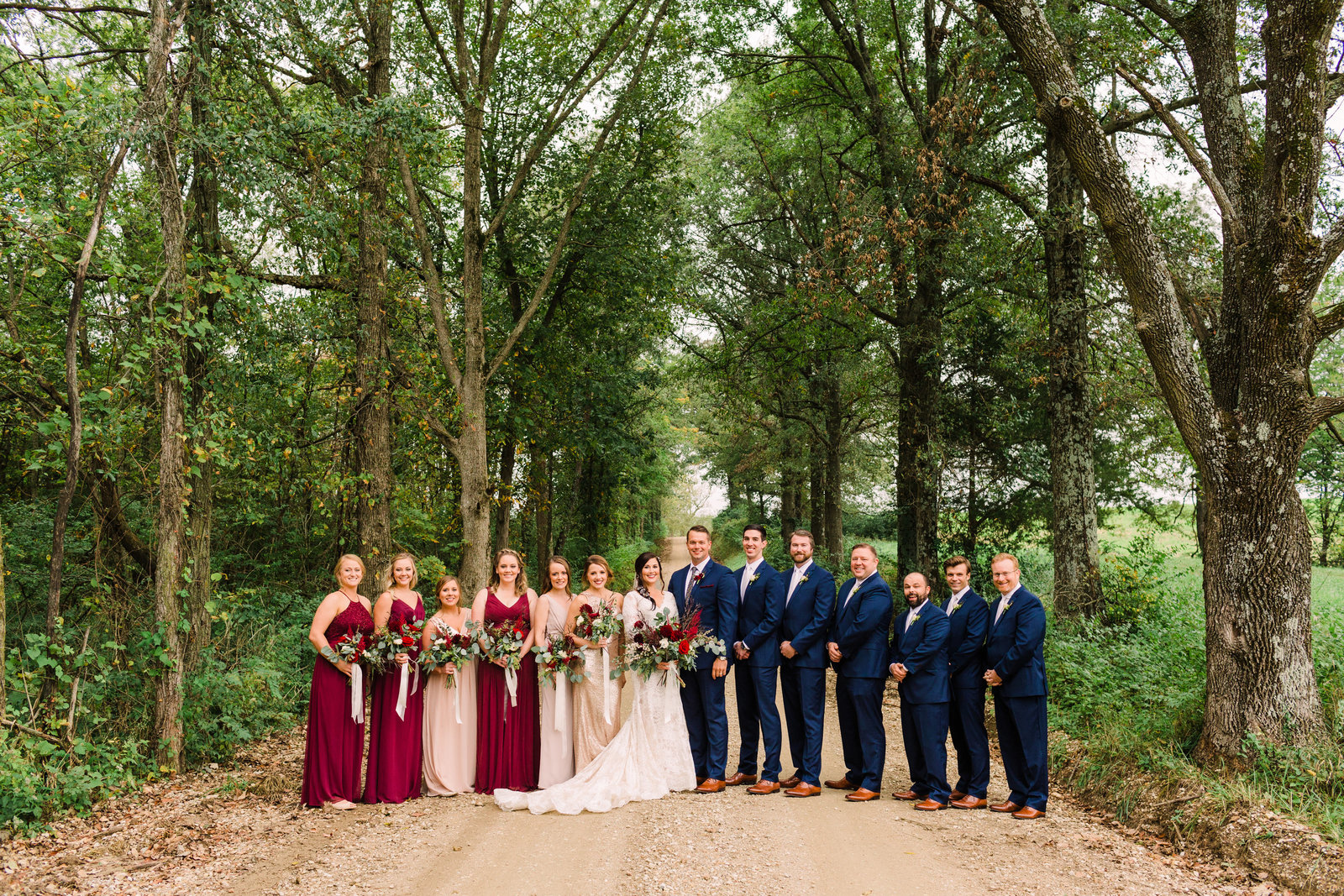 Wedding party portrait from Rustic yet elegant wedding at Three Barn Farm with pops of burgundy and navy by Jackelynn Noel Photography