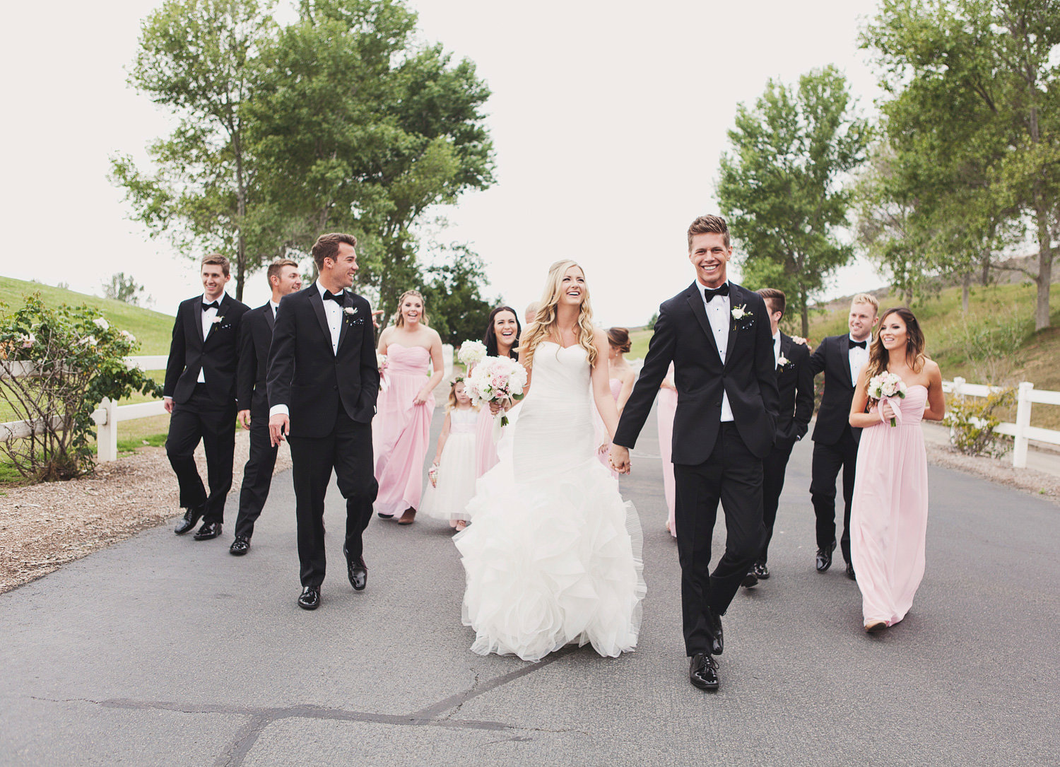 bridal party walking at Strawberry Farms Golf Course
