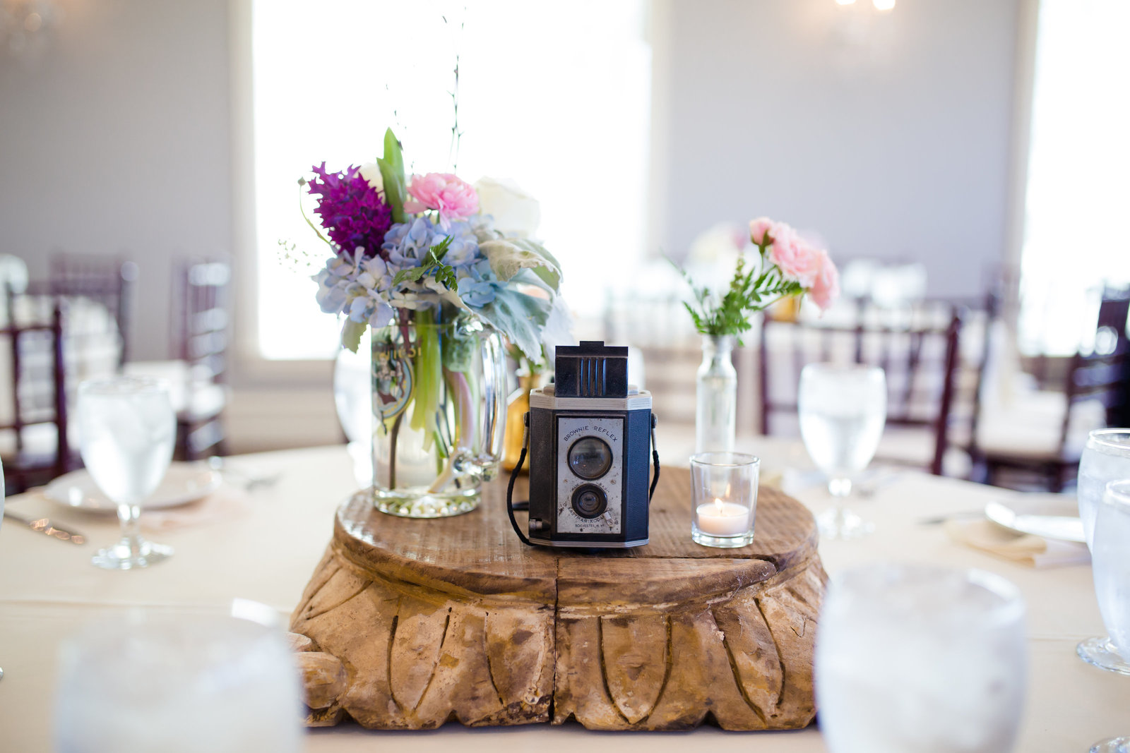 Centerpiece at reception by Brittany Barclay Photography