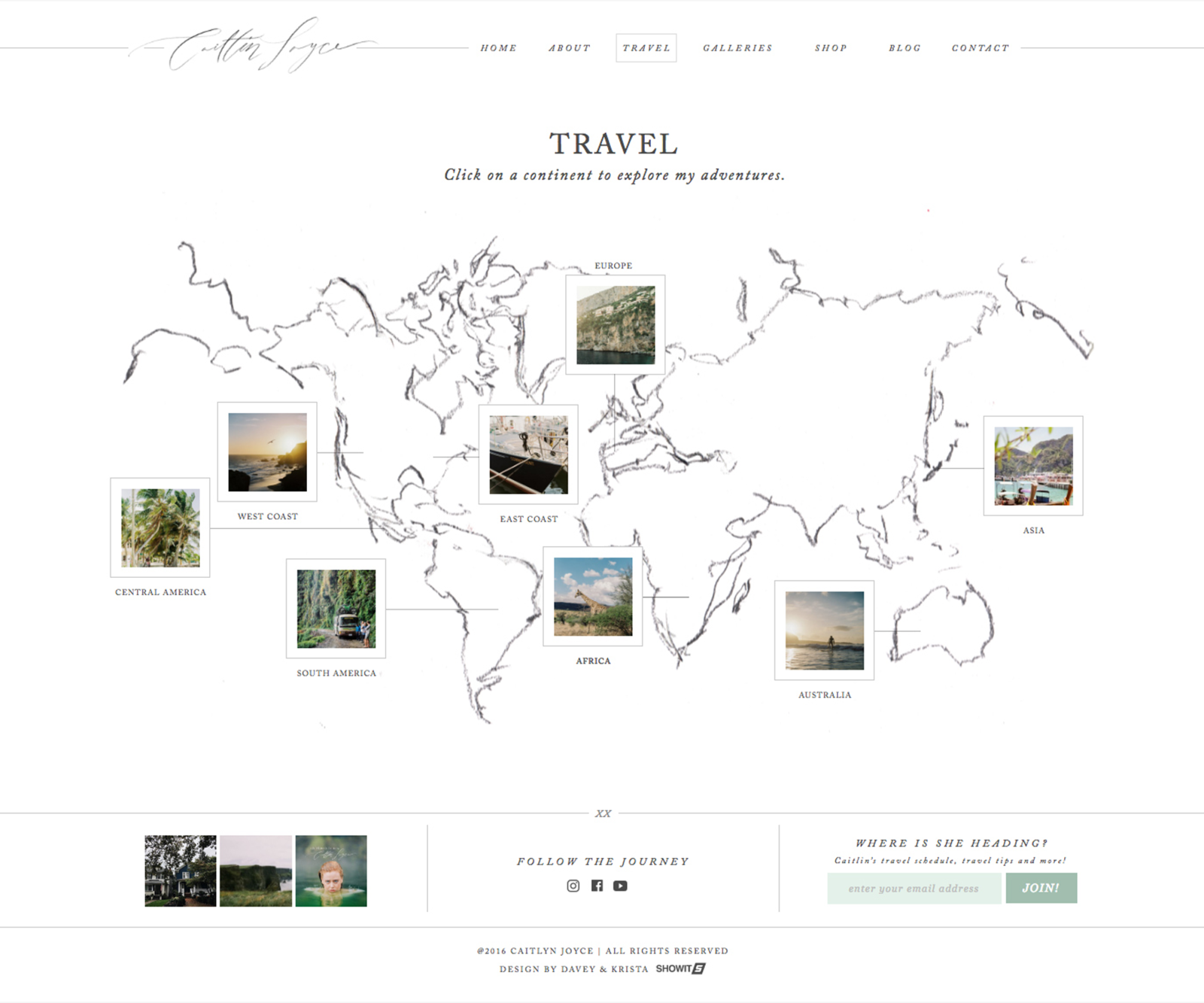 Interactive map design for Australian photographer Caitlin Joyce