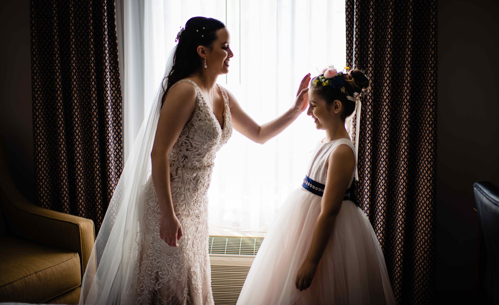 11 Bride With Flower Girl at Society Room of Hartford Weddings