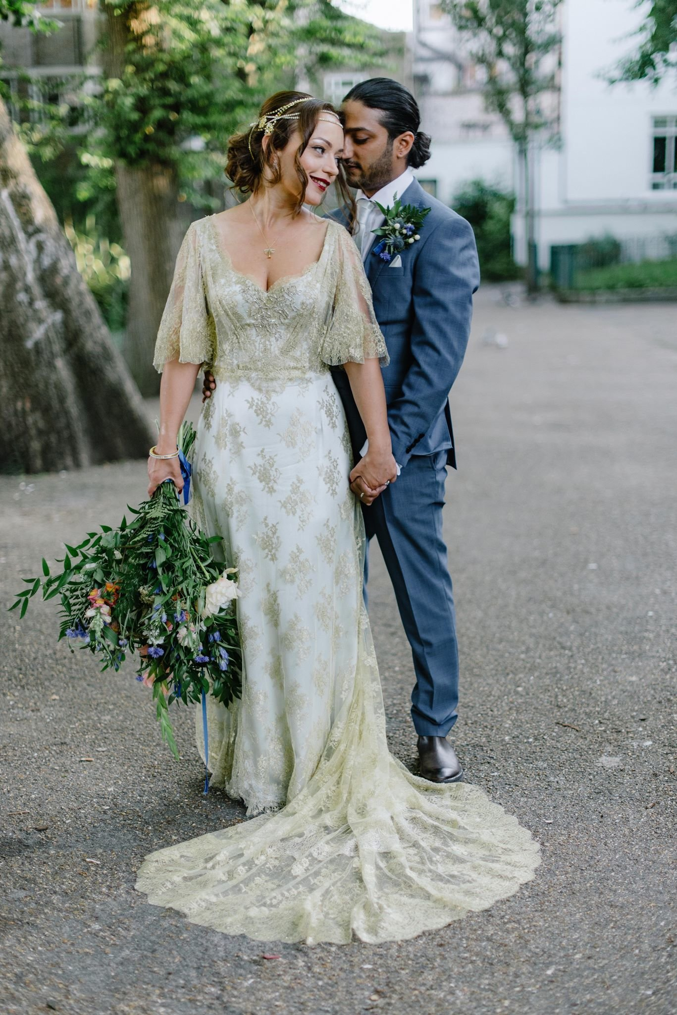 Anglo Indian fusion wedding blue and gold dress by Joanne Fleming Design, photo by Jacqui McSweeney