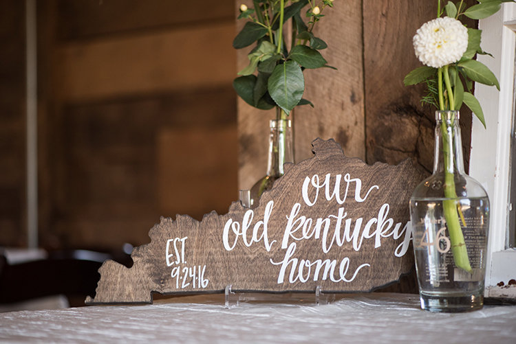 Kentucky shaped wooden cutout with meaningful quote