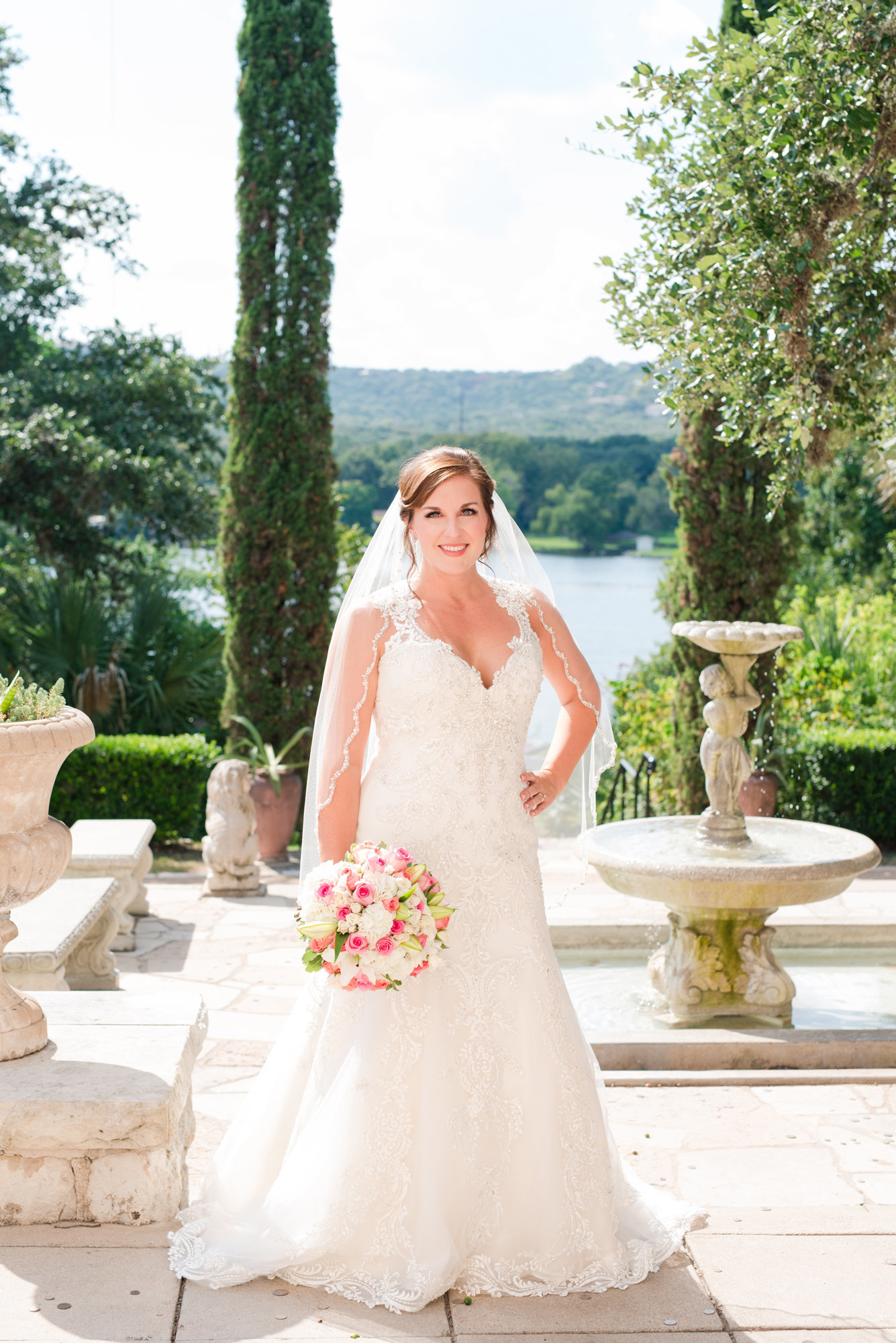 Italian Style bridal portraits at Laguna Gloria in Austin, Texas