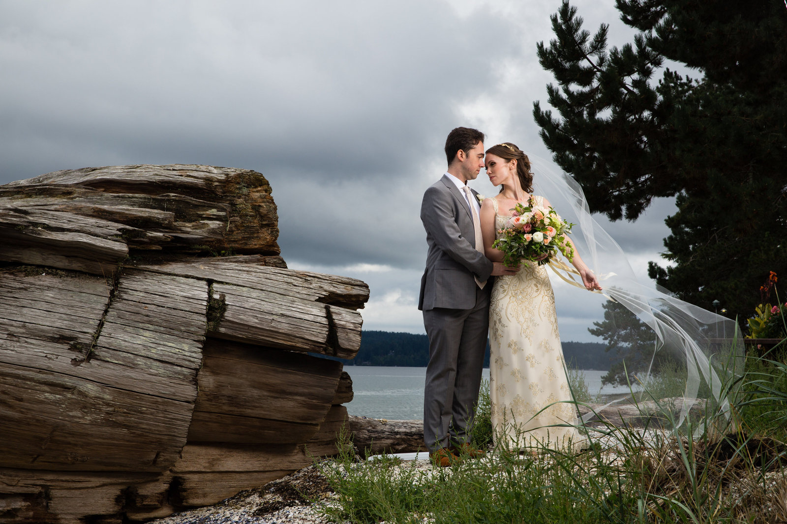 adventurous wedding by lake with driftwood