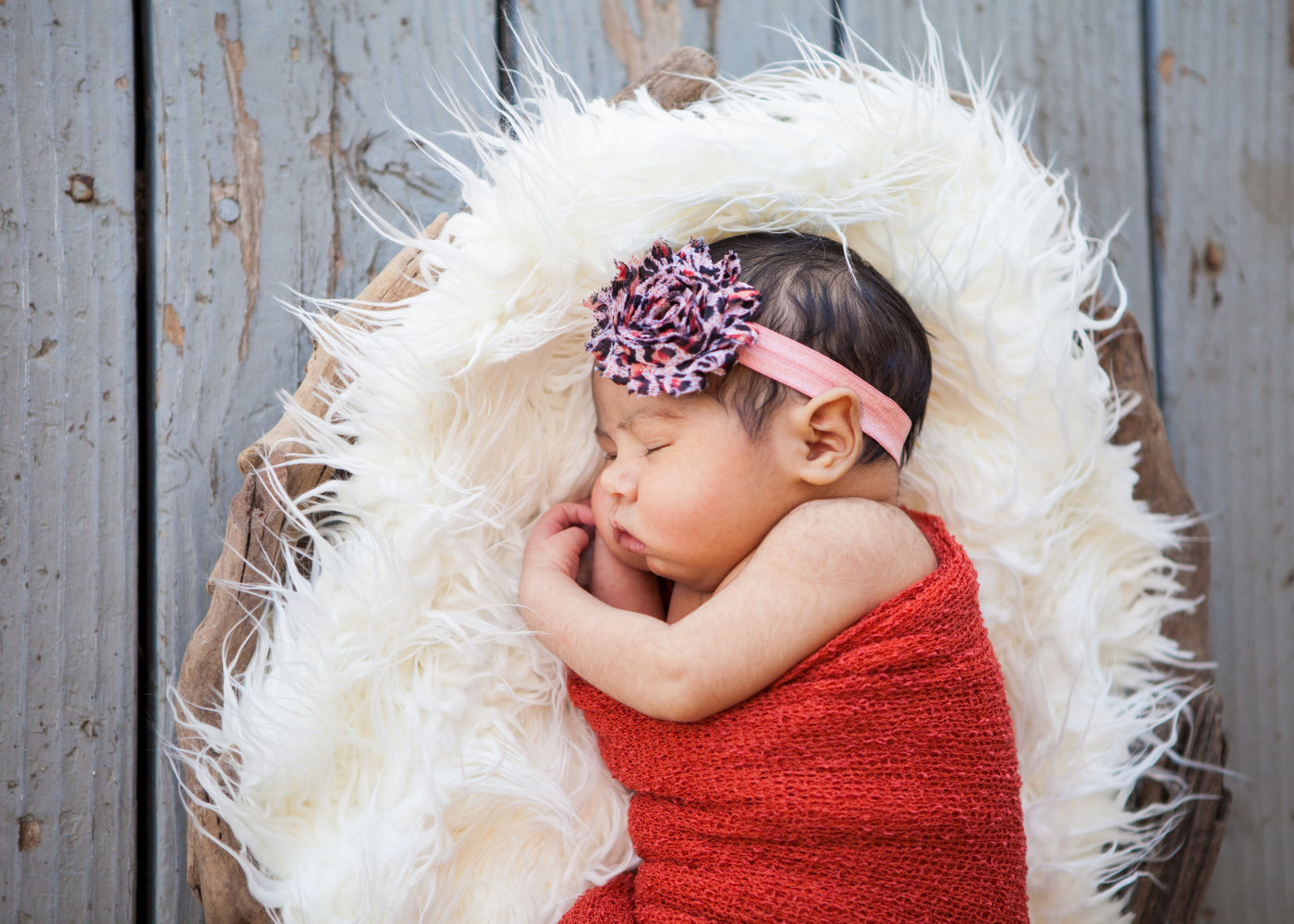 Outdoor Newborn Session baby in basket Hilmar CA