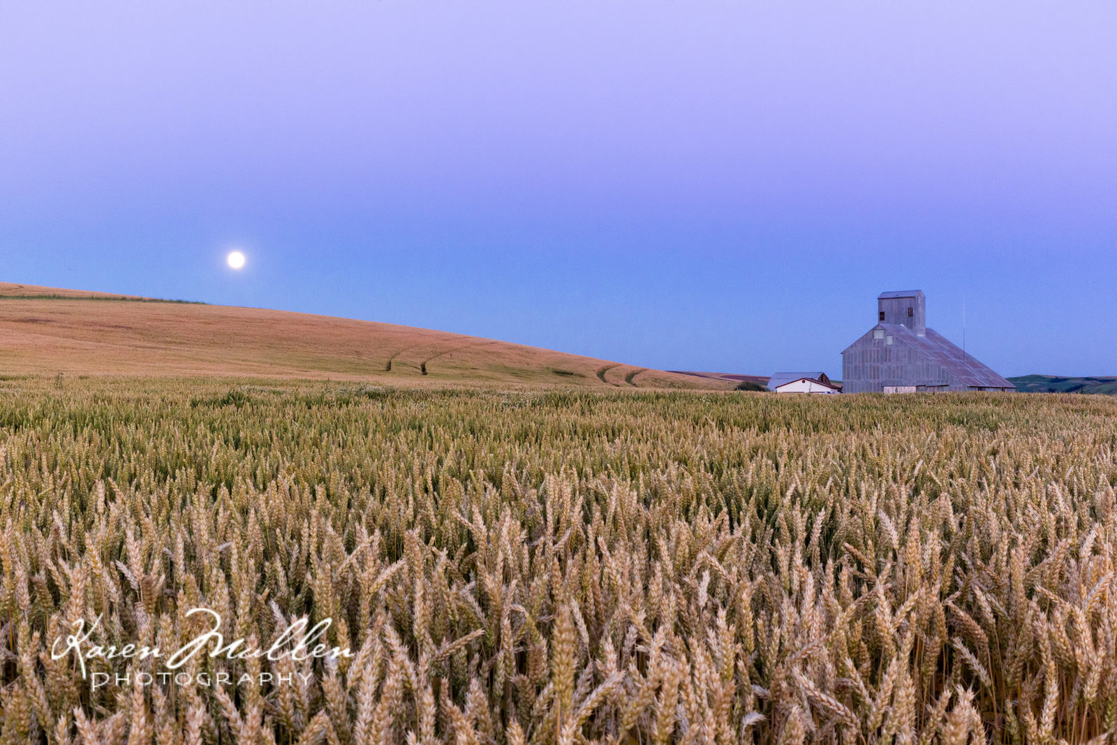 moonrise over barn
