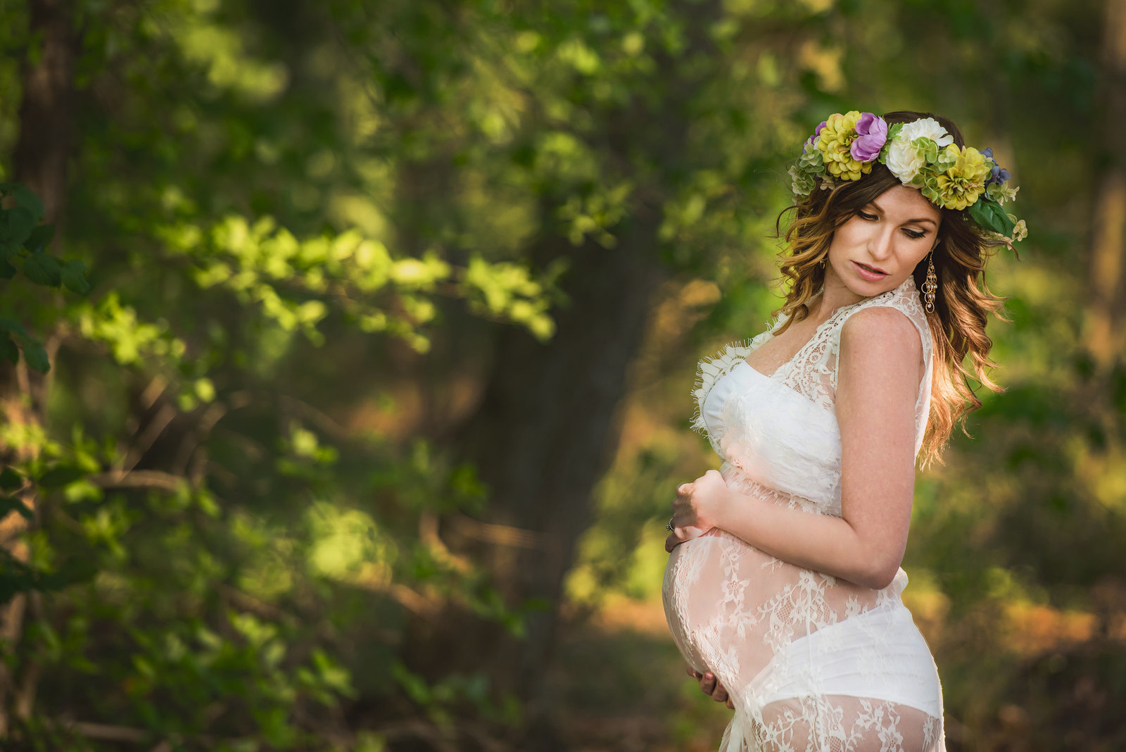 Glamour, Boudoir, Pregnancy, floral crown, lace gown,