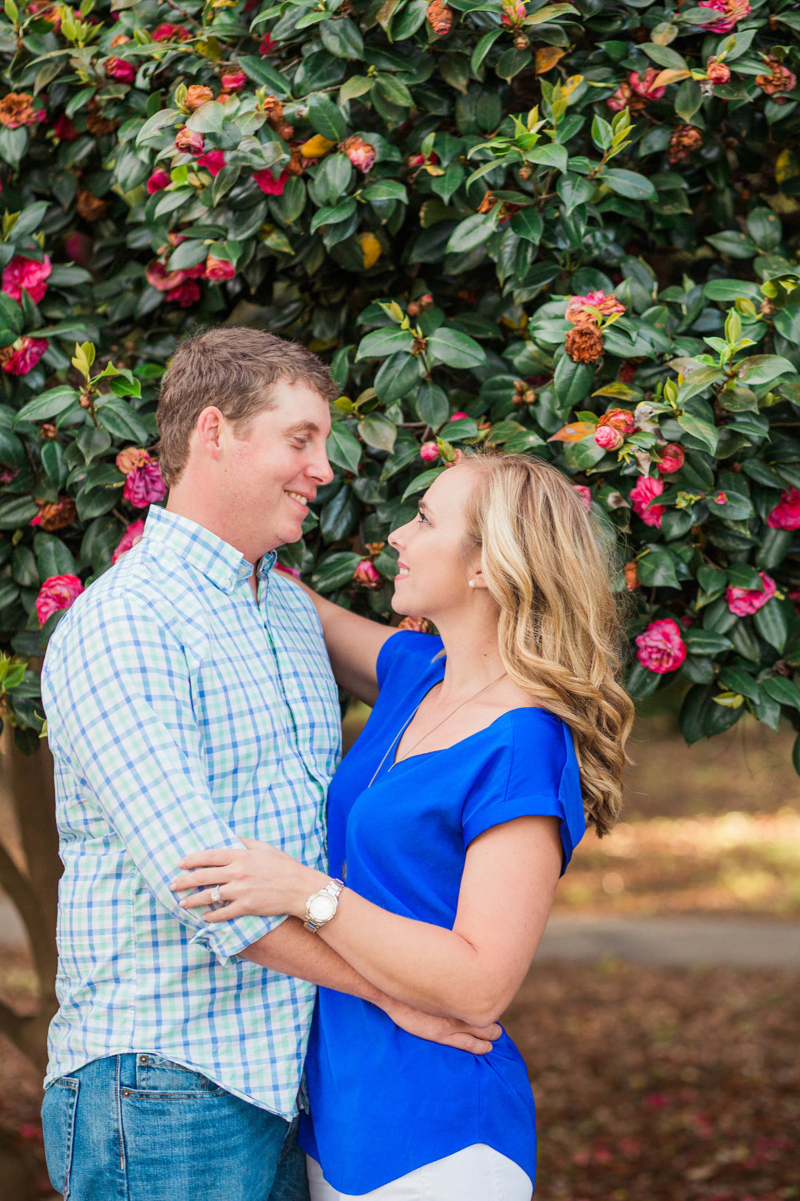 Engaged couple poses in front of tree with red flowers, Hampton Park, Charleston, South Carolina