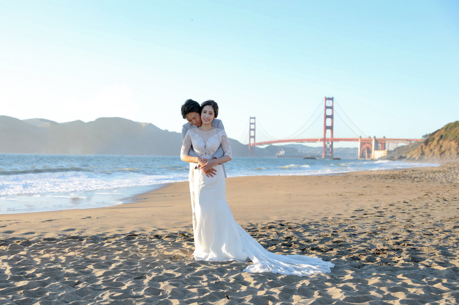 Engagement session for bride and groom at Sunset in San Francisco, California