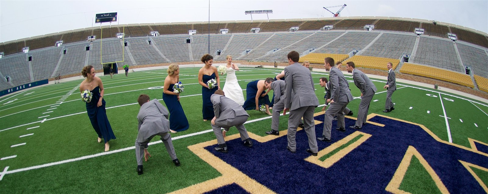 Football Shenanigans on the Filed at Notre Dame Stadium