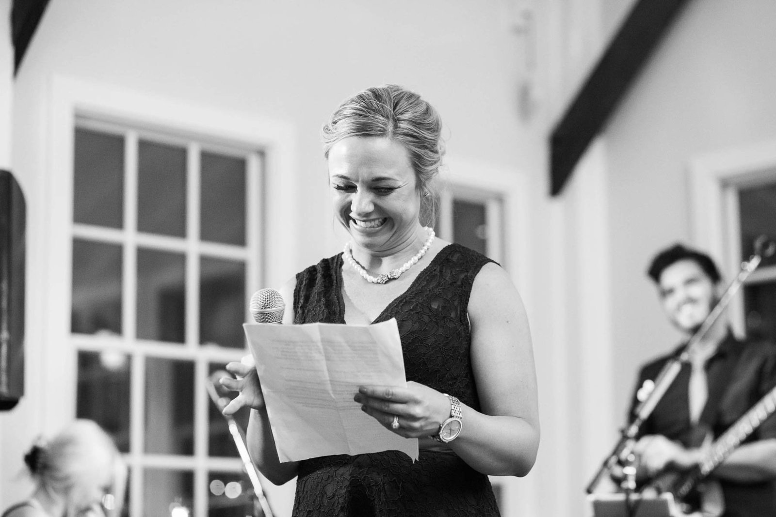 Maid of honor delivers her speech, Alhambra Hall, Mt Pleasant, South Carolina