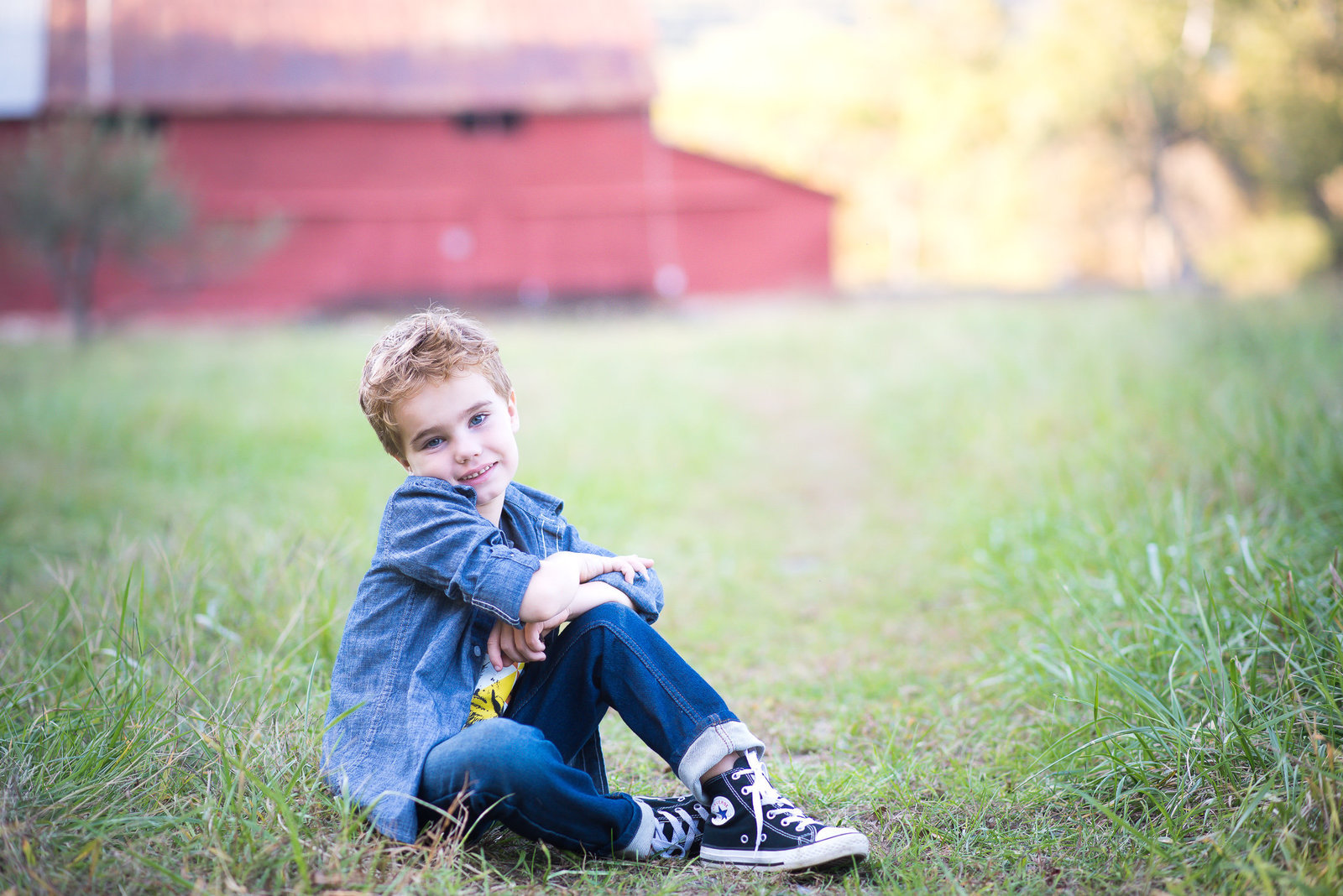 Portrait photography of a handsome  boy sitting in front of red barn in Charlottesville.