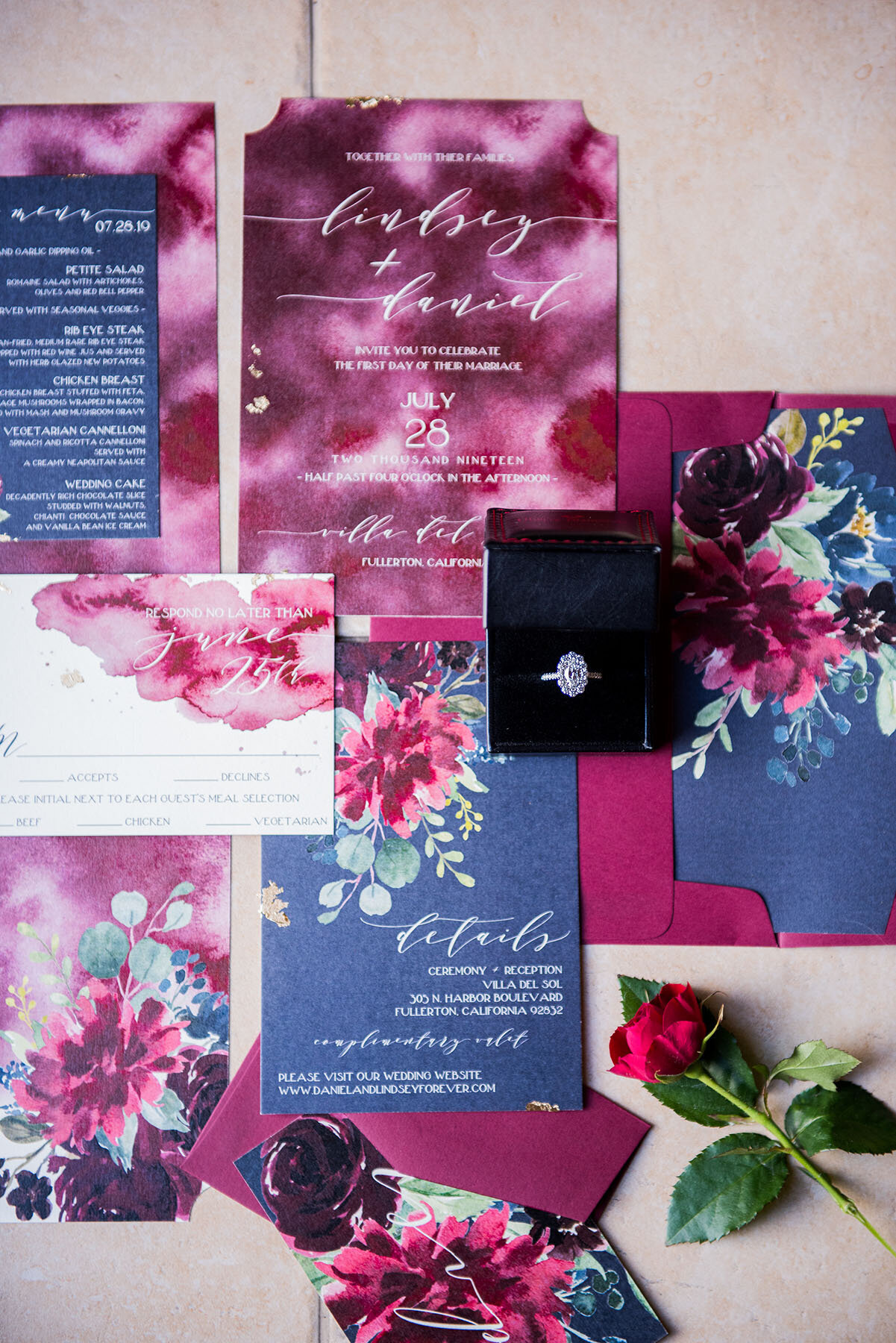 maroon-and-blue-wedding-invitations-ring-rose