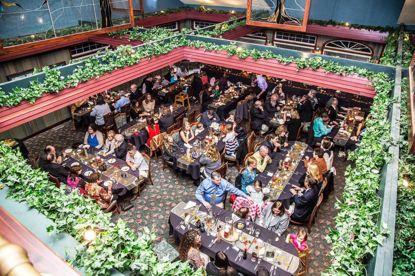 wedding photography reception from above