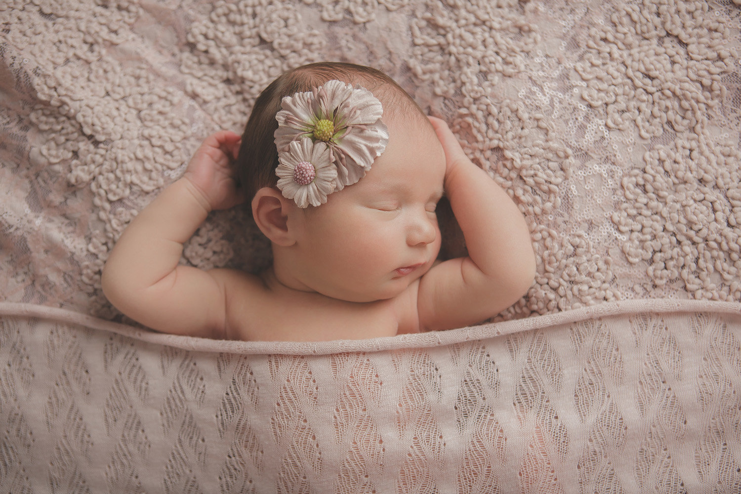 west point Hudson Valley NY newborn baby sleeping in a sweet simple pose by professional photographer in Cornwall NY photo studio