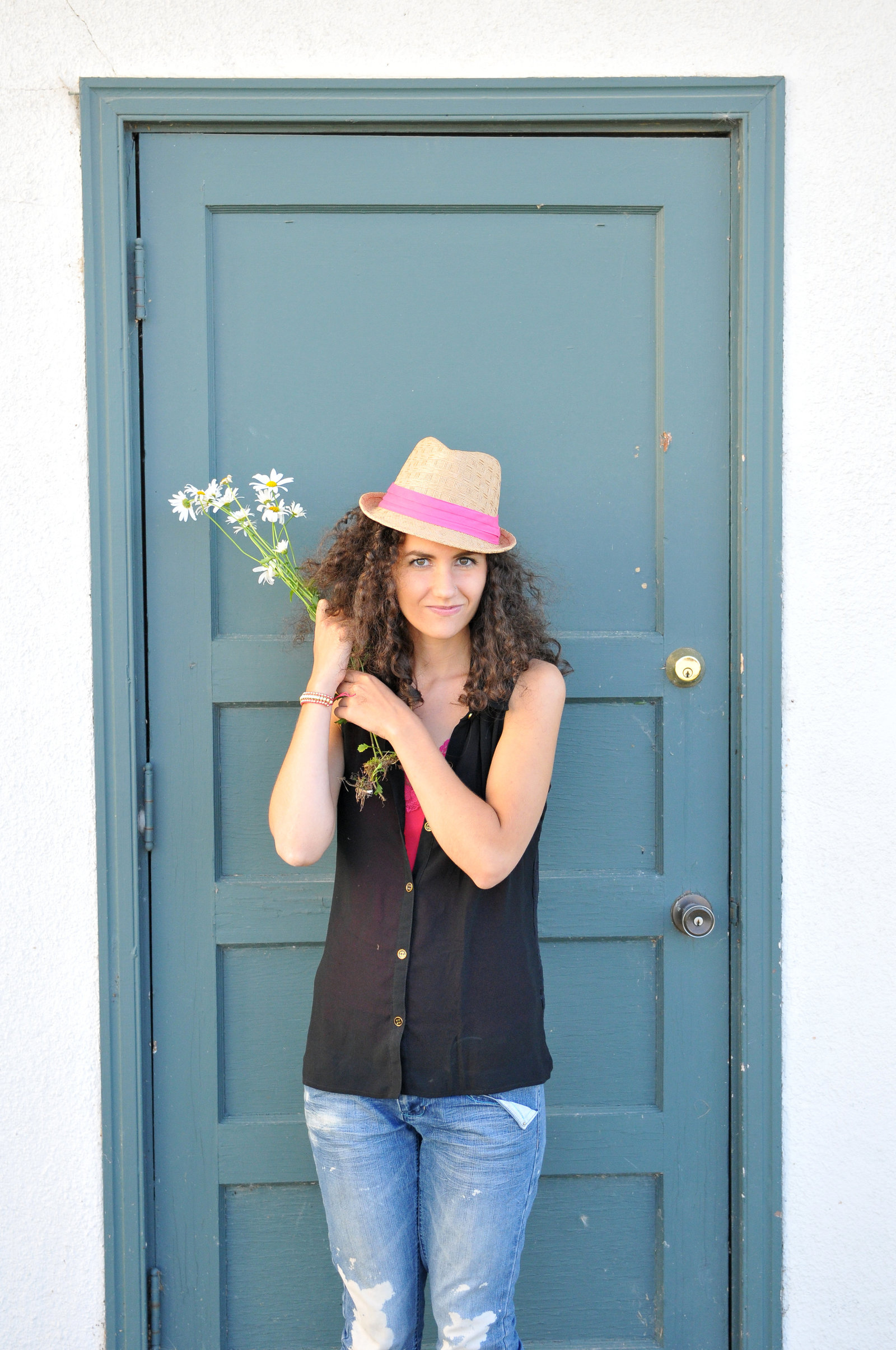 NiNi Flowers Blue Doora by Melissa E Earle