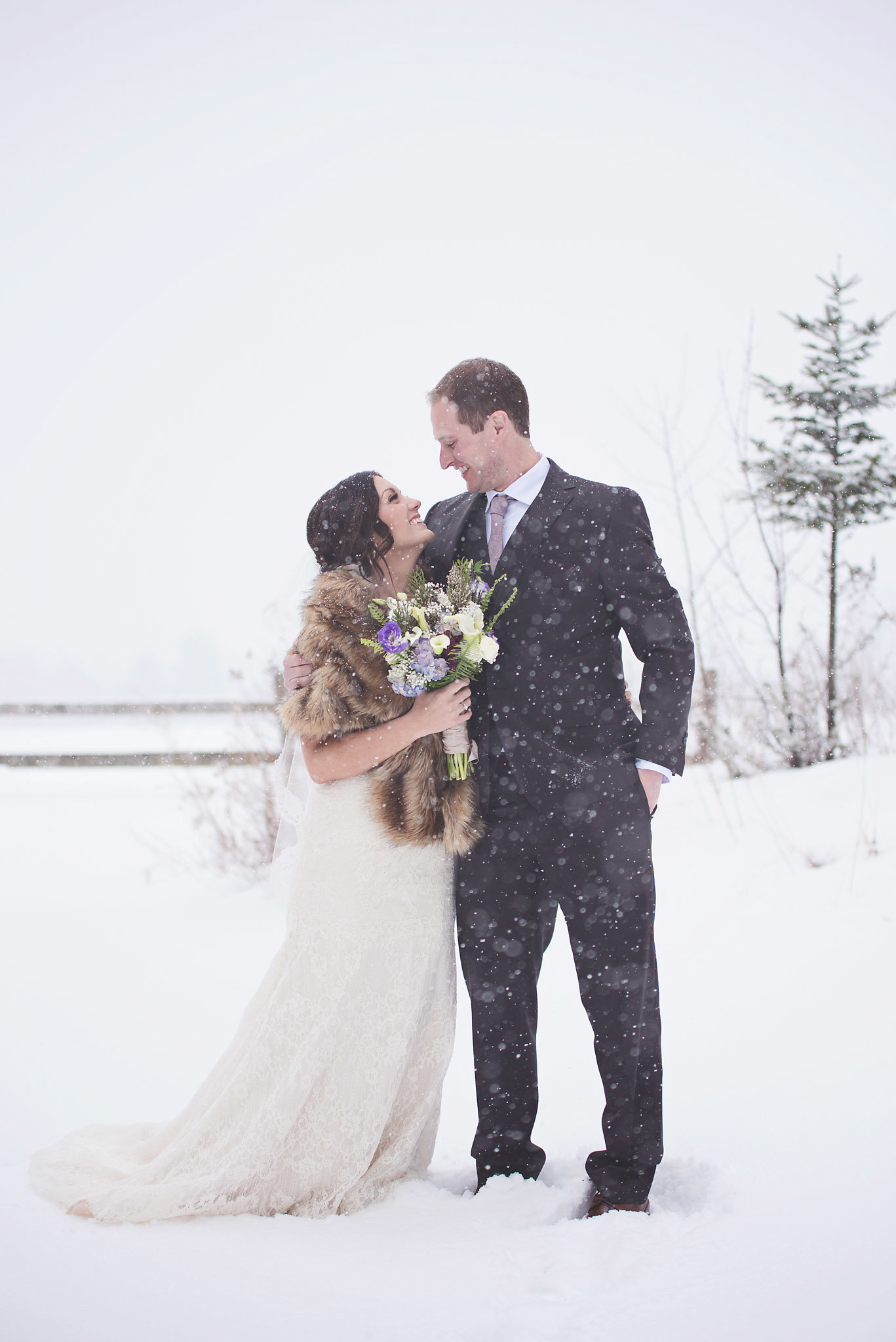 winter wedding in Vermont, snowy wedding, bride and groom first look