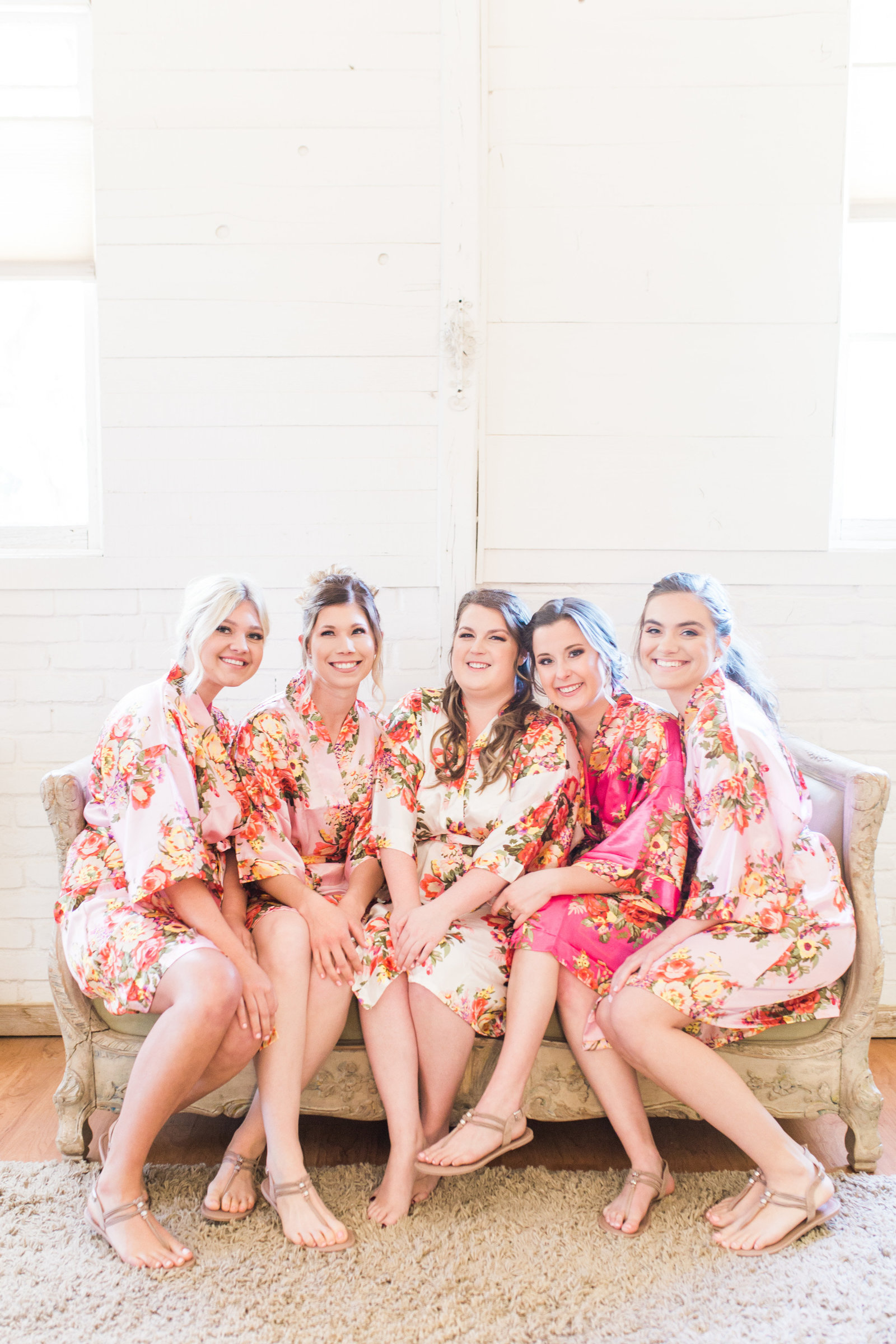 Windmill Winery Blush and Pink Wedding Photo of Bride and Bridesmaids in Floral Robes