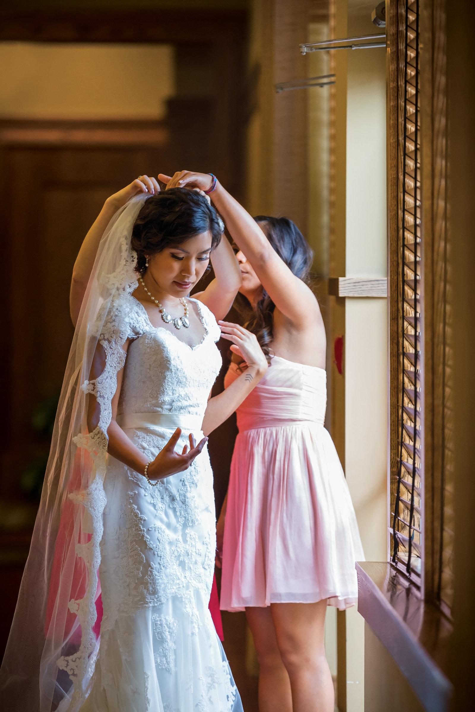 veil, detail, wedding dress