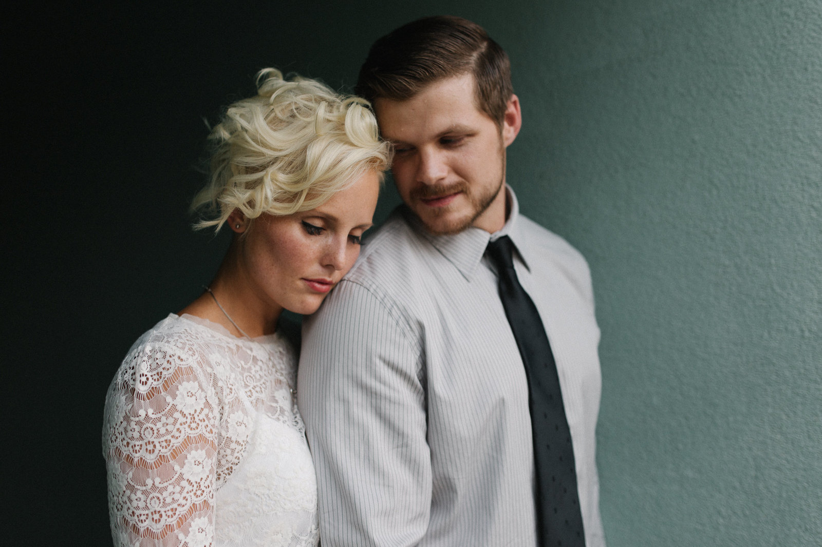 Bride and Groom embrace after ceremony during golden hour in Phoenix, Arizona