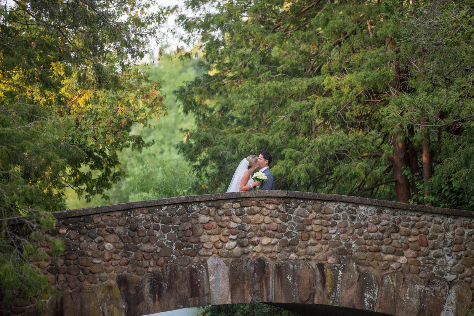 Bride and Groom on the Pond House Bridge