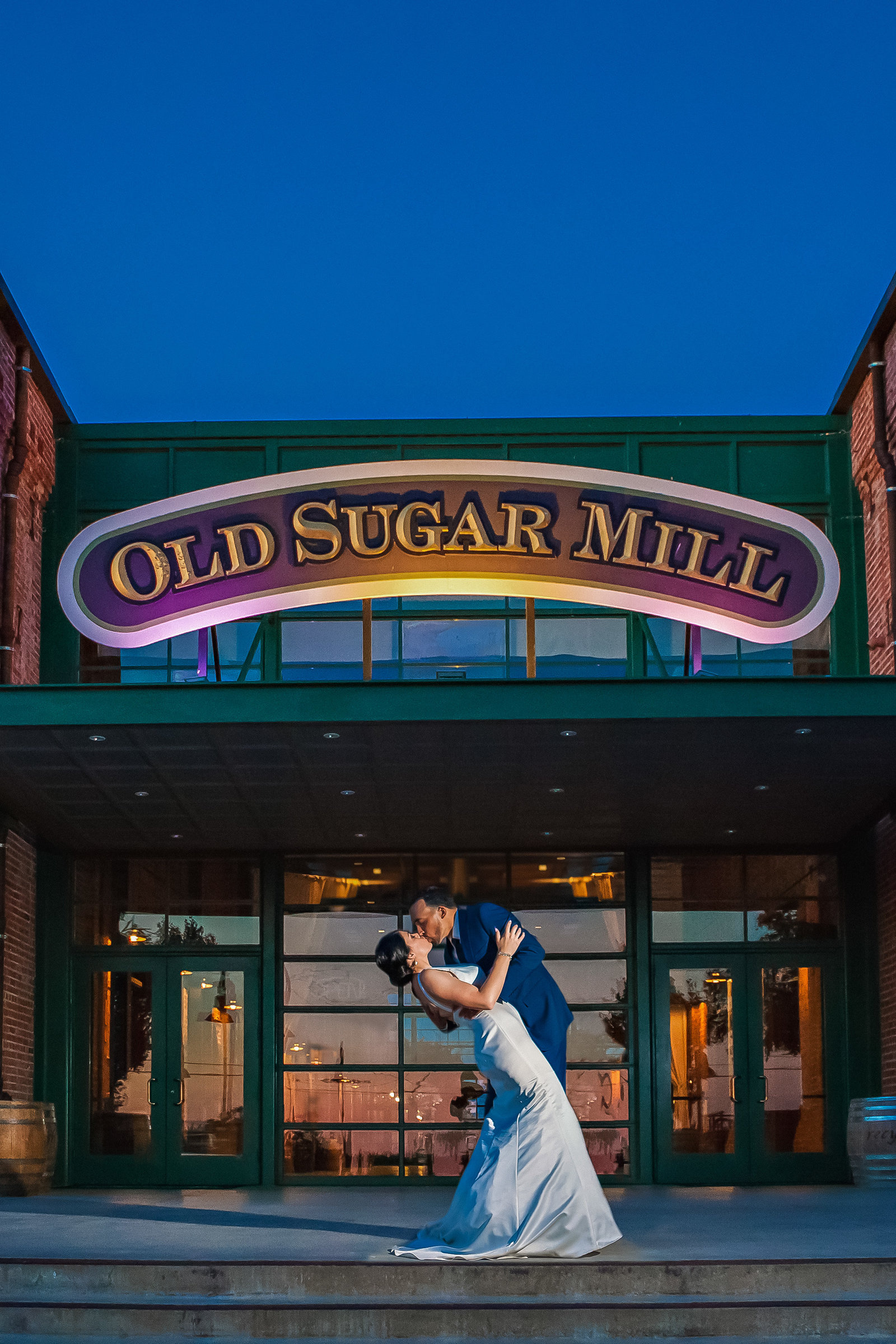 Sacramento Old Sugar Mill Bride and Groom Portrait at sunset