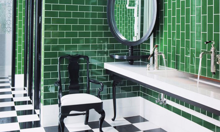 Emerald Green Bathroom by Kelly Wearstler