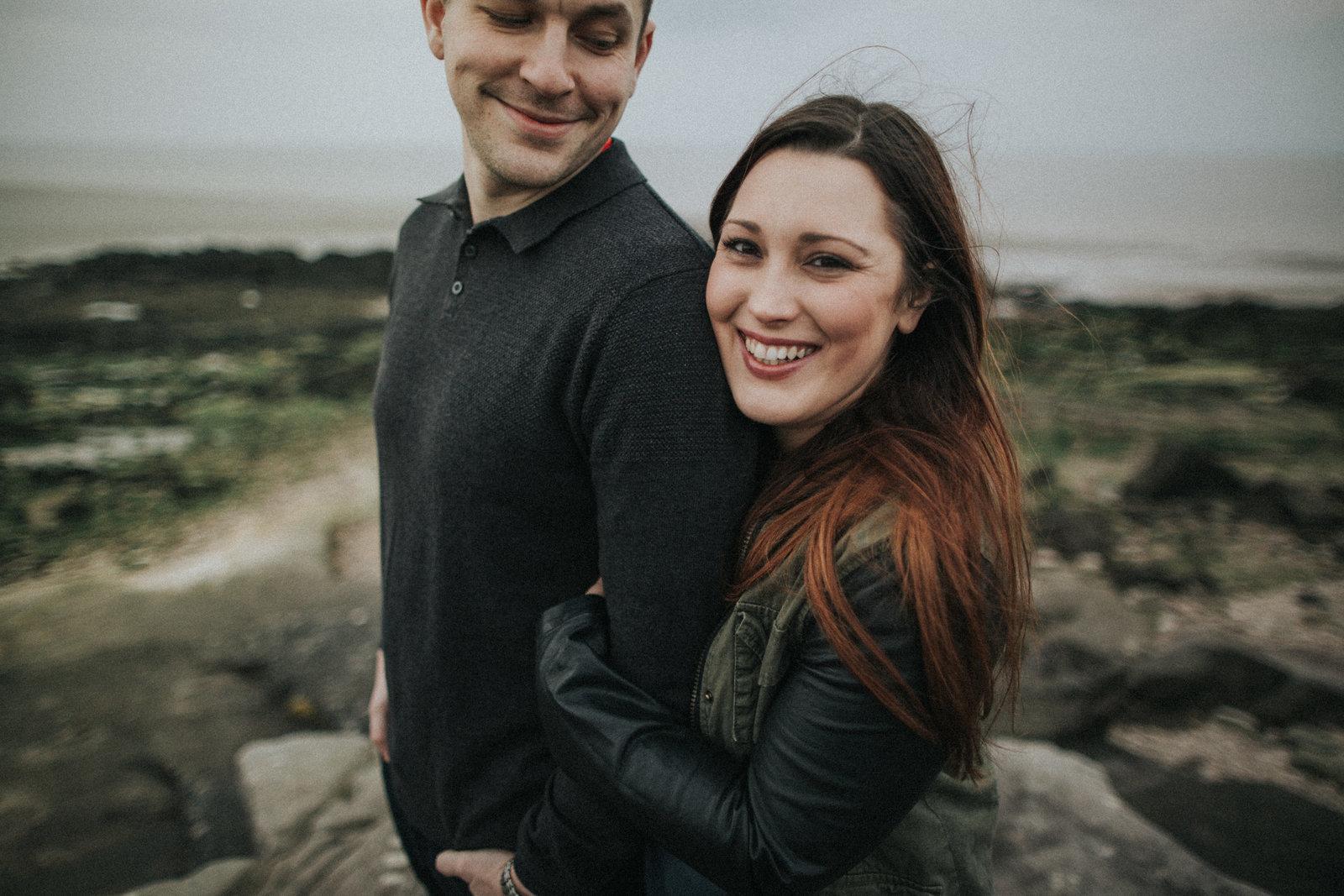 Engaged couple photographed in Morecambe Bay by Lancaster Wedding Photographer Jono Symonds