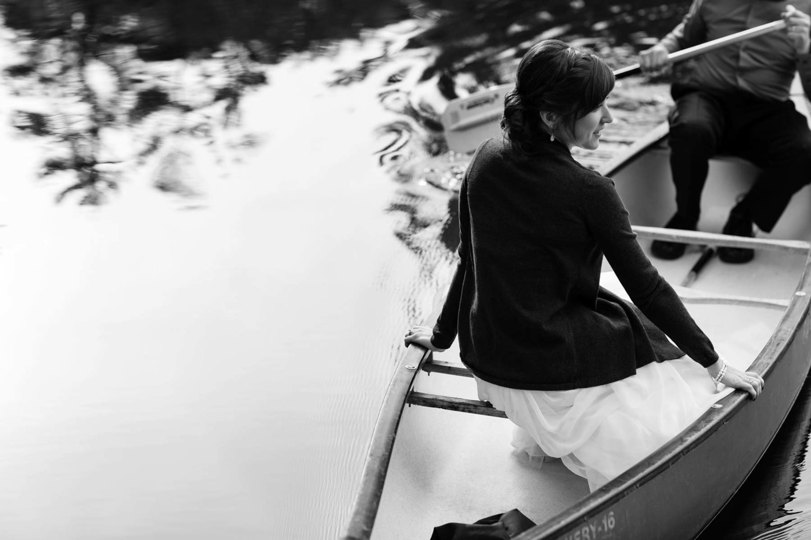 Sebago Lake Maine Wedding in a canoe