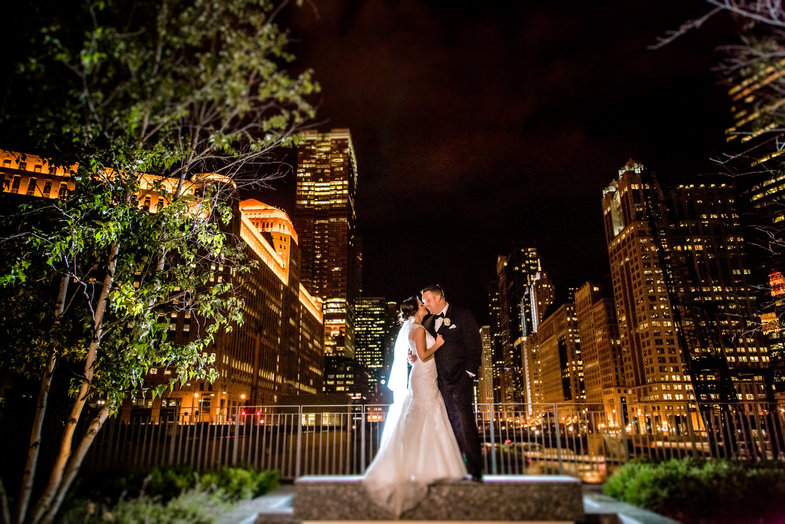 Chicago night wedding
