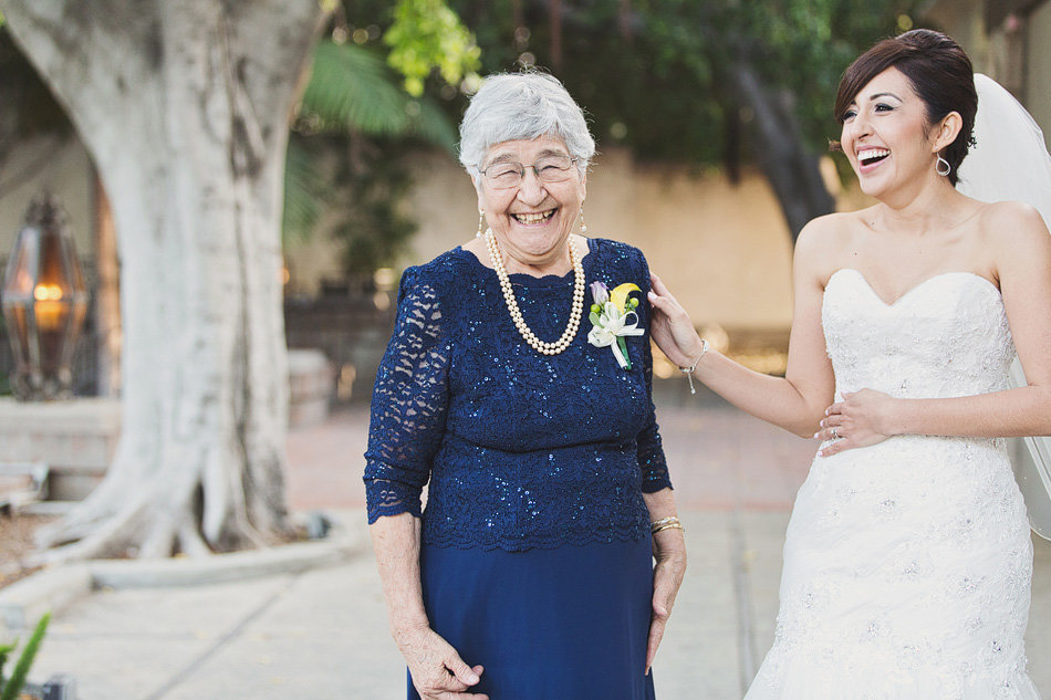 bride laughing with her grandma