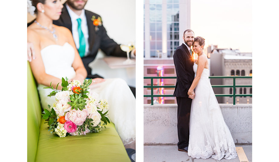 Modern artistic photograph of a colorful bridal bouquet filled with peonies and succulents sitting in front of a bride and groom on a lime green bench paired with a candid portrait of a newlywed couple on a rooftop in an urban setting at sunset with the last rays of the sun shining through them as they share laughter from an inside joke and a few quiet moments together at the end of their wedding day in Boise, Idaho.