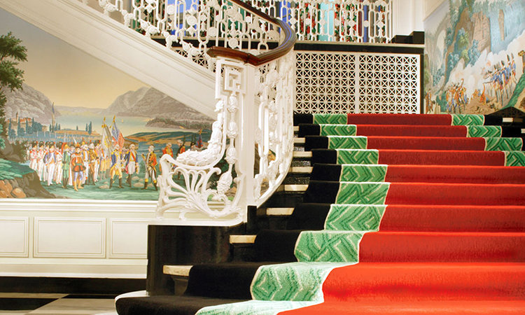 Main Staircase in the lobby of Greenbrier by Dorothy Draper