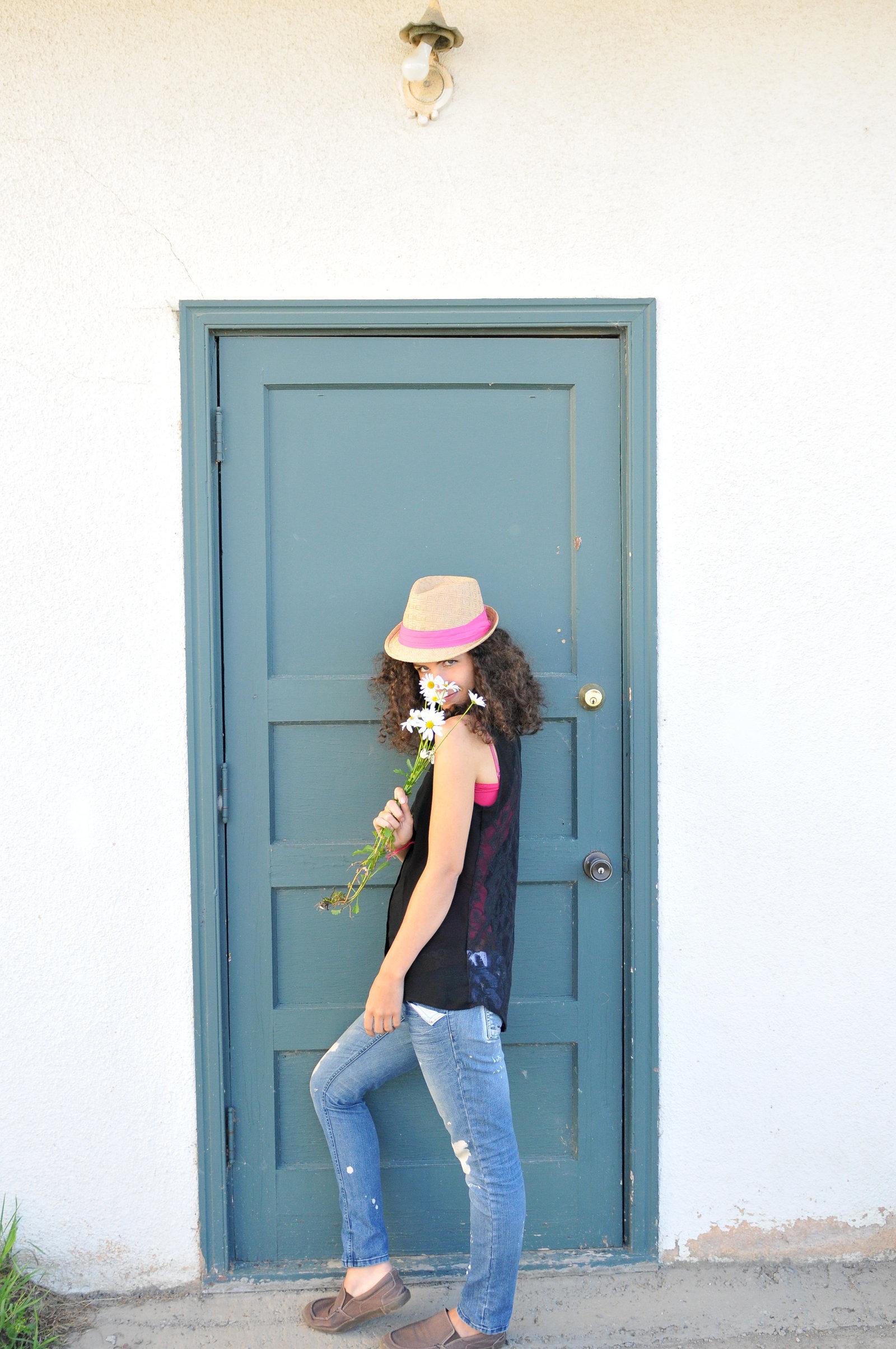 NiNi Flowers Blue Doorc by Melissa E Earle
