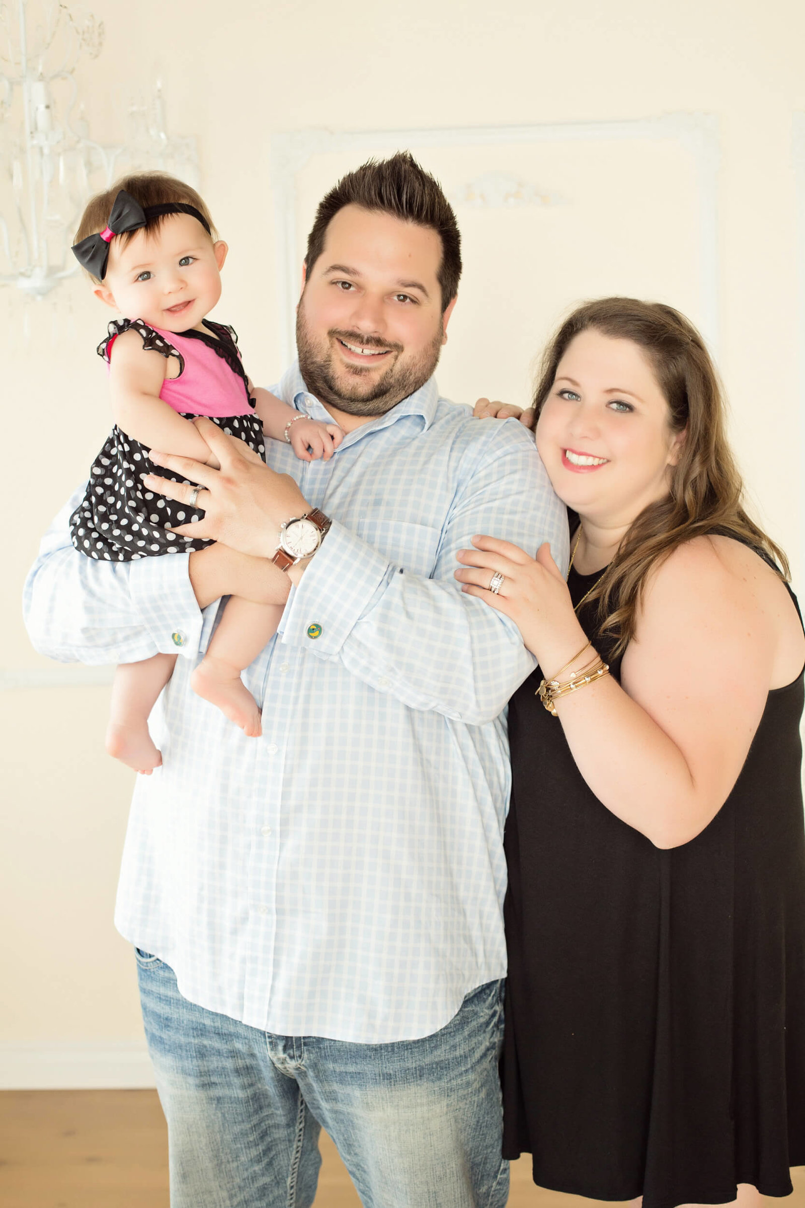 indoor family of three photography