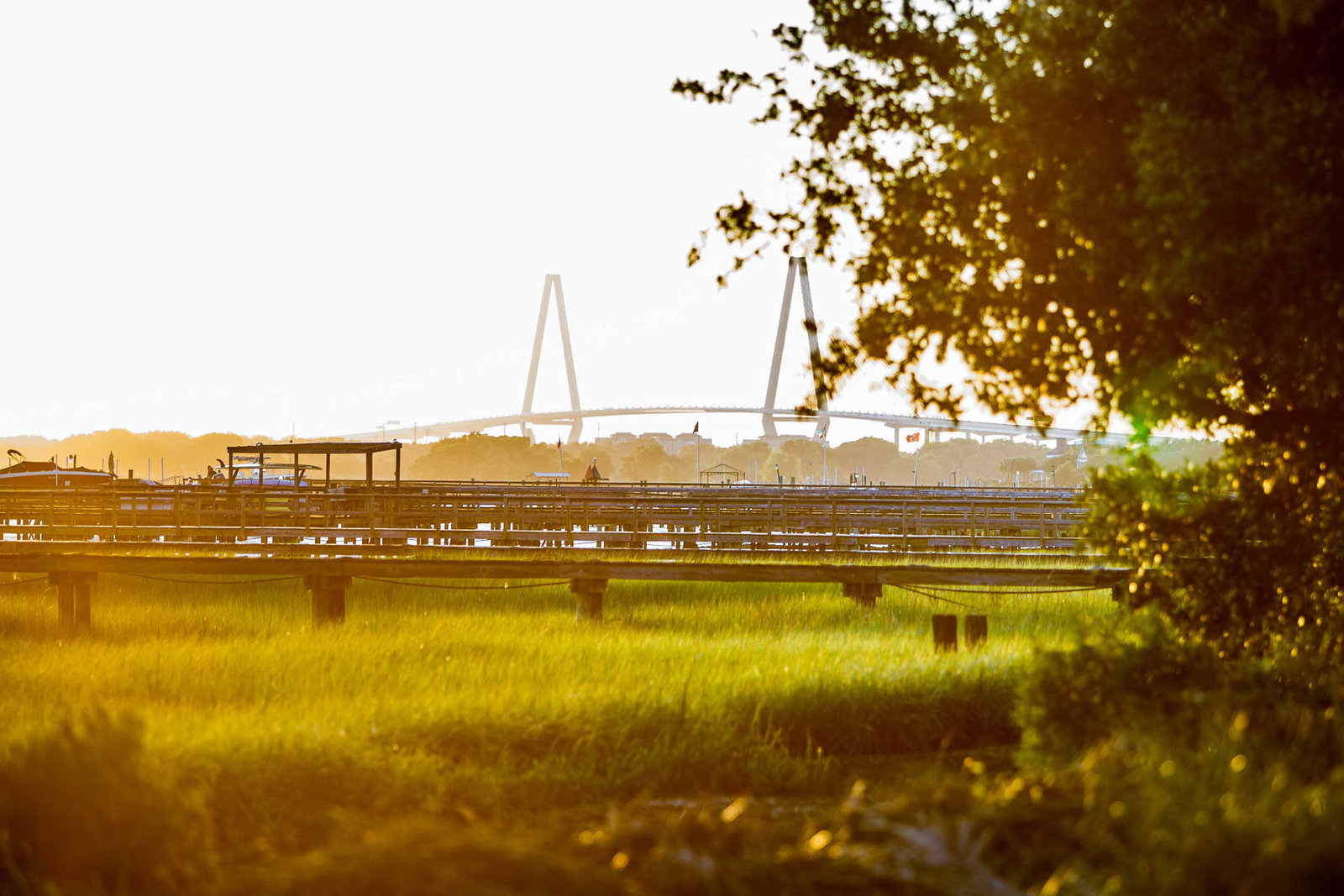 Sun sets over marsh and the Ravenel Bridge, Alhambra Hall, Mt Pleasant, South Carolina