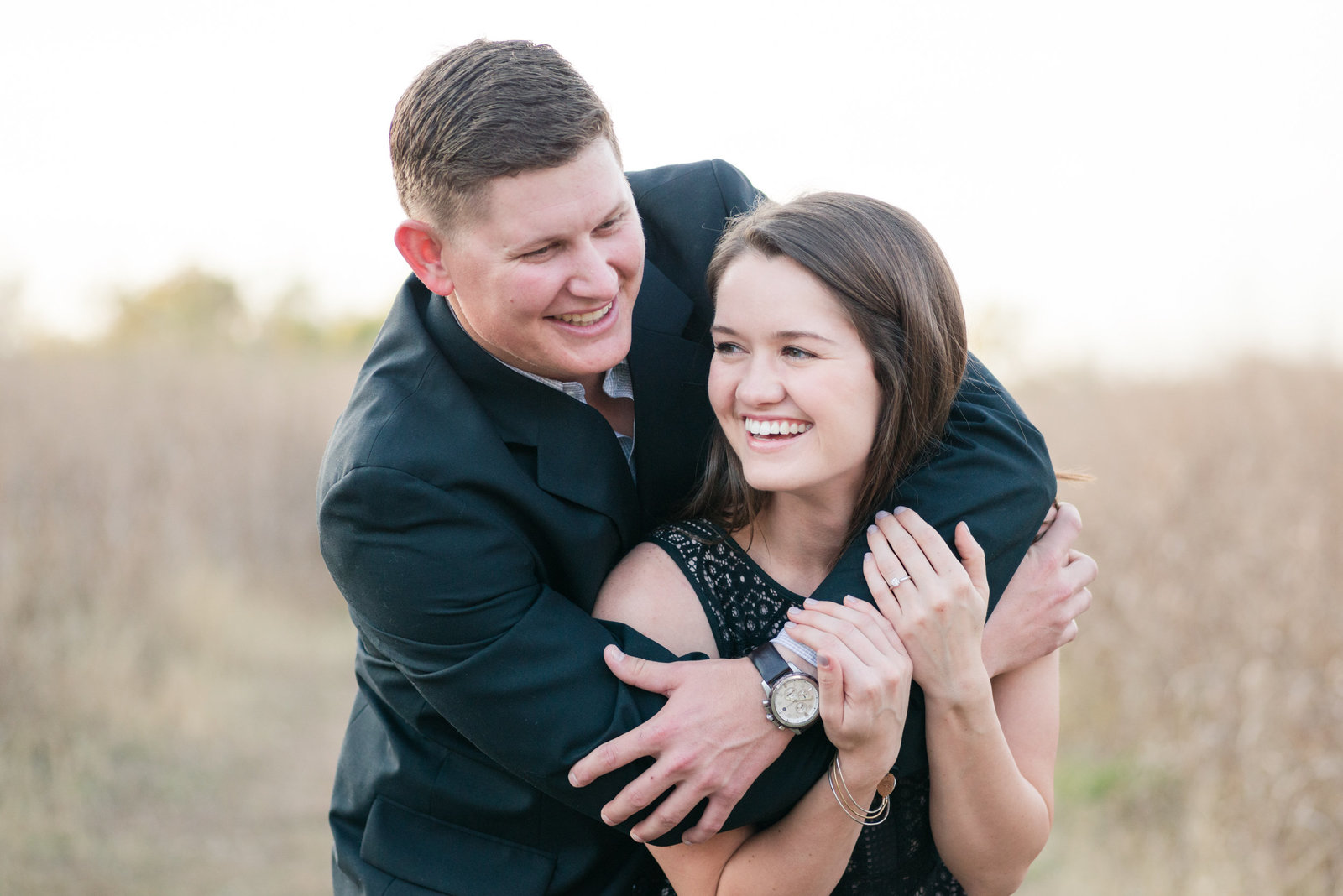 Engagement Photos at Cibolo Nature Center in Boerne, Texas Bride in Little Black Dress