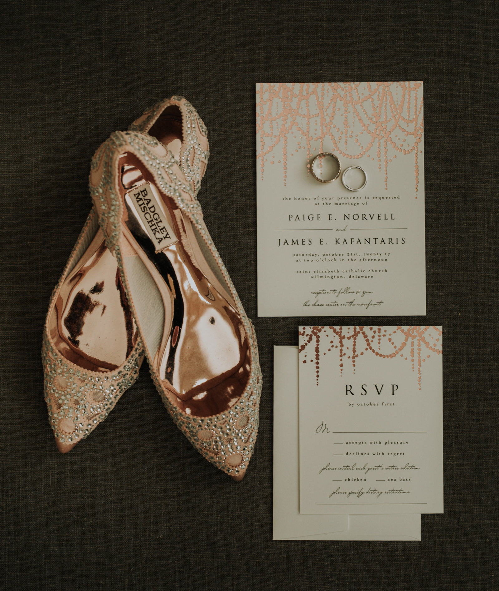 wedding shoes and wedding invitation detail