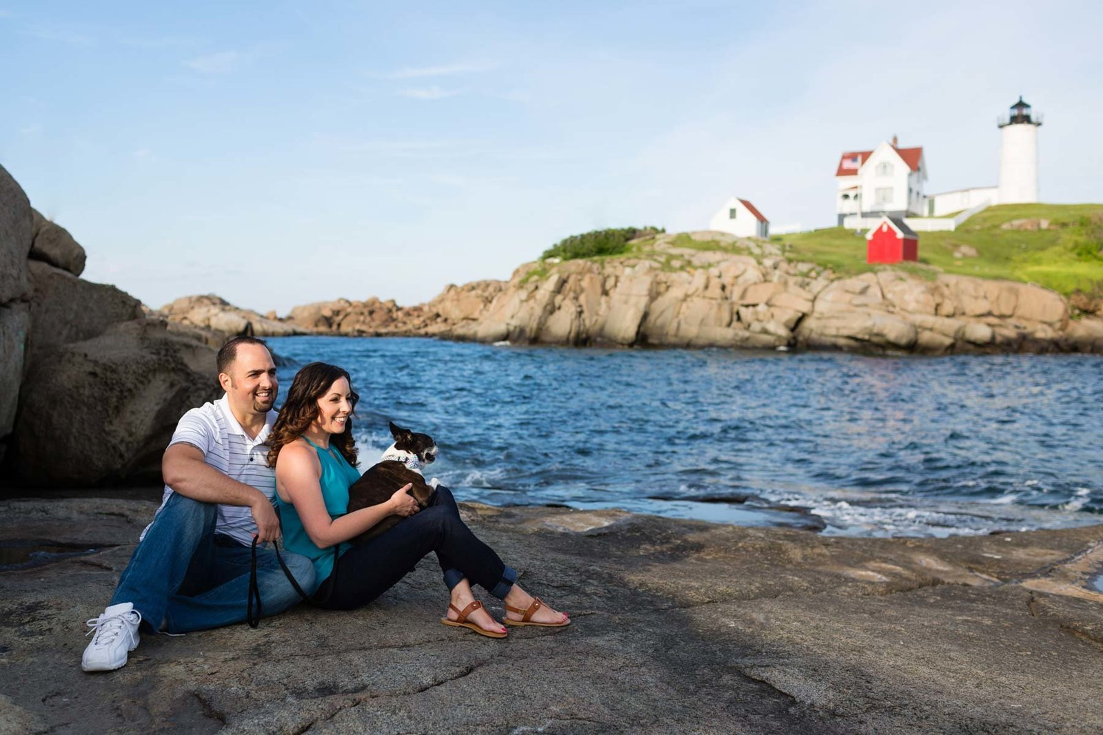 York Maine Wedding Photographers Engagement Session Nubble Lighthouse Image Water Dog I am Sarah V Photography