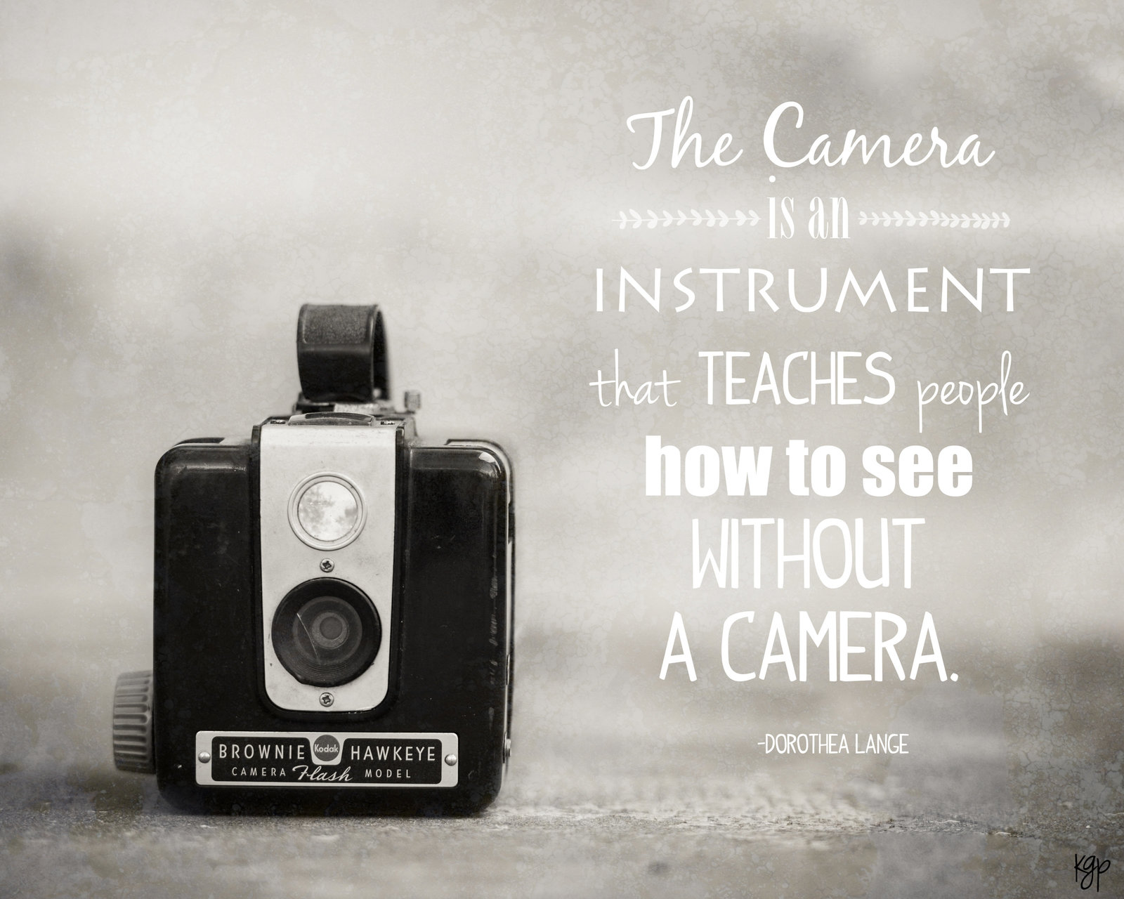 Brownie Hawkeye Camera with Dorothea Lange quote