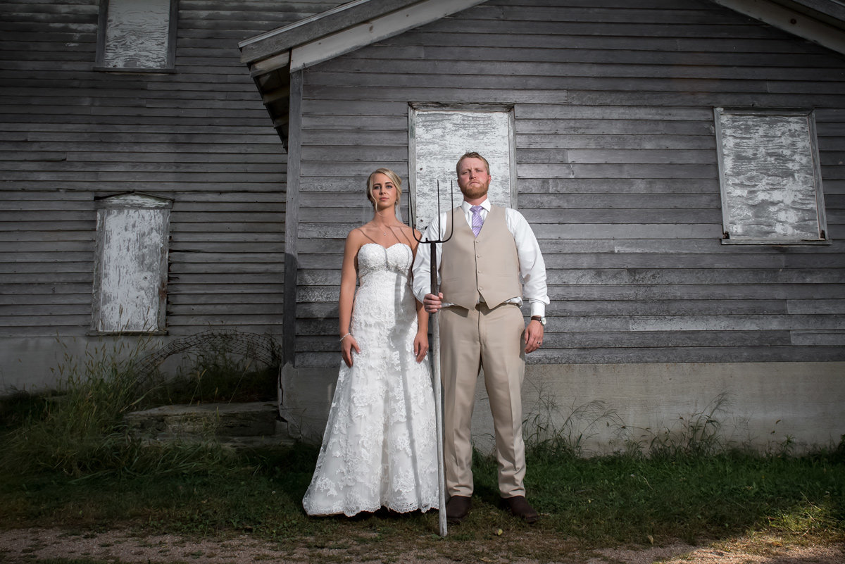 bride and groom american gothic recreation