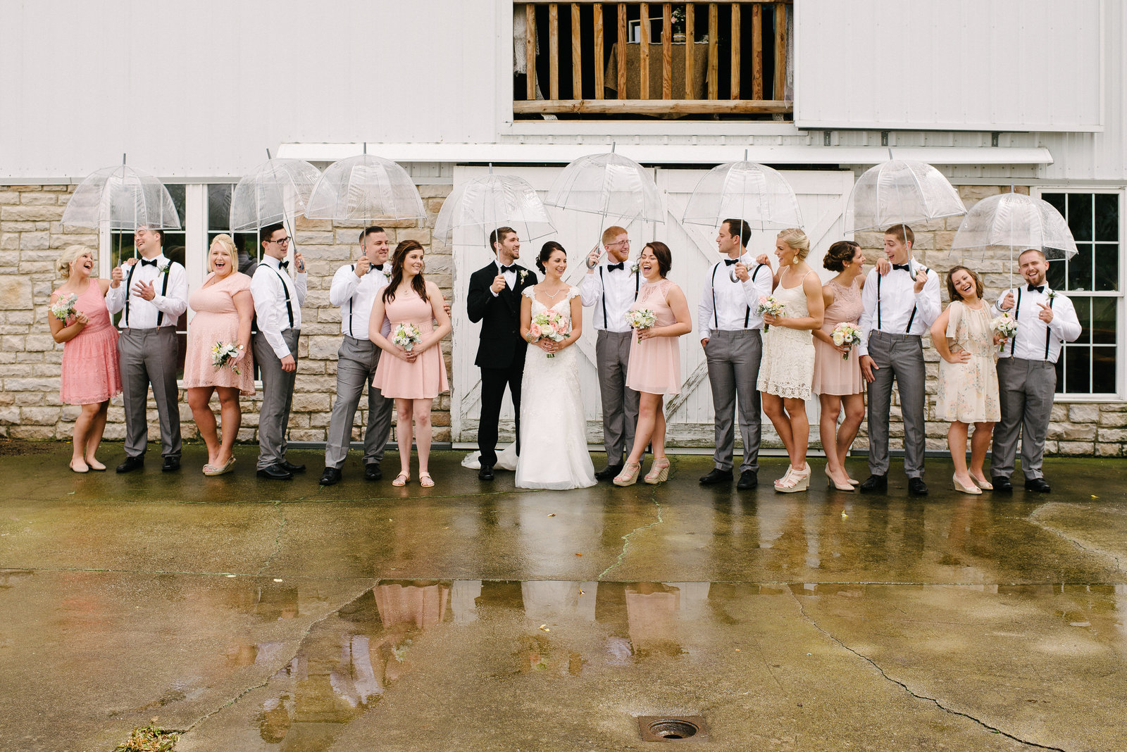 Links at Firestone bridal party on rainy day