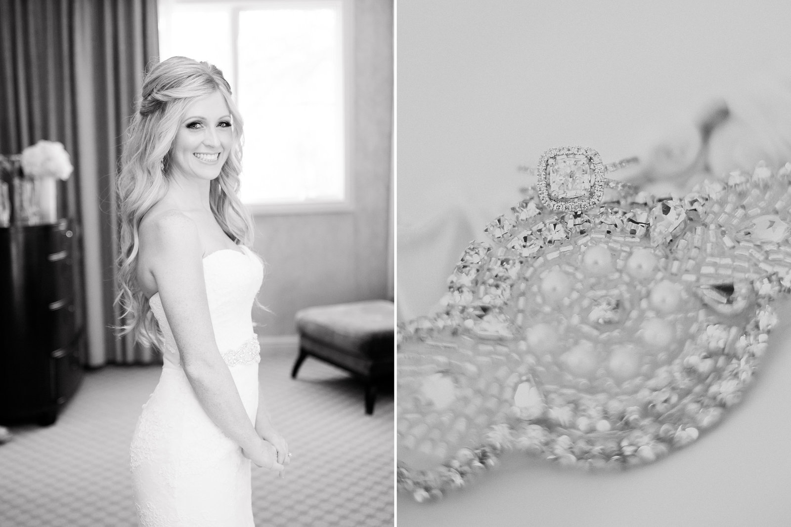 Beautiful black & white photo of bride in hotel room & close up of garter on her wedding day  | Susie Moreno Photography