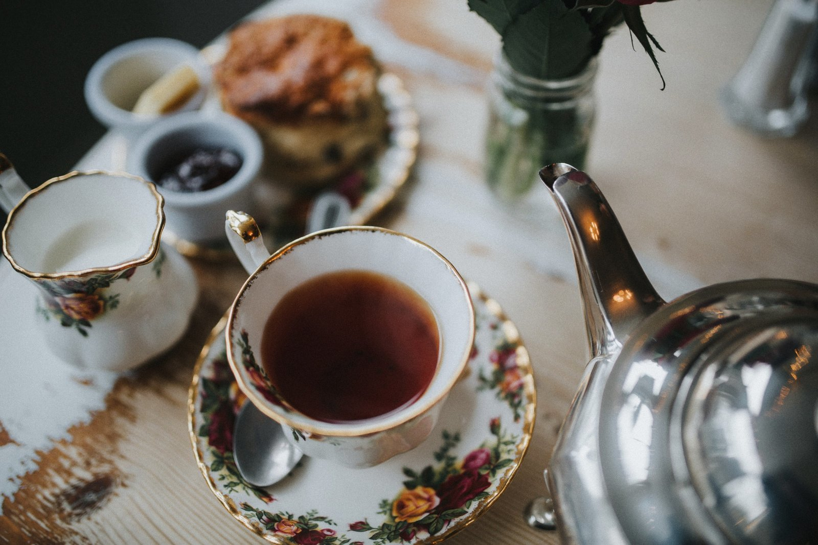 Photograph of afternoon tea at Baldry's Tearoom in Grasmere Village, The Lake District