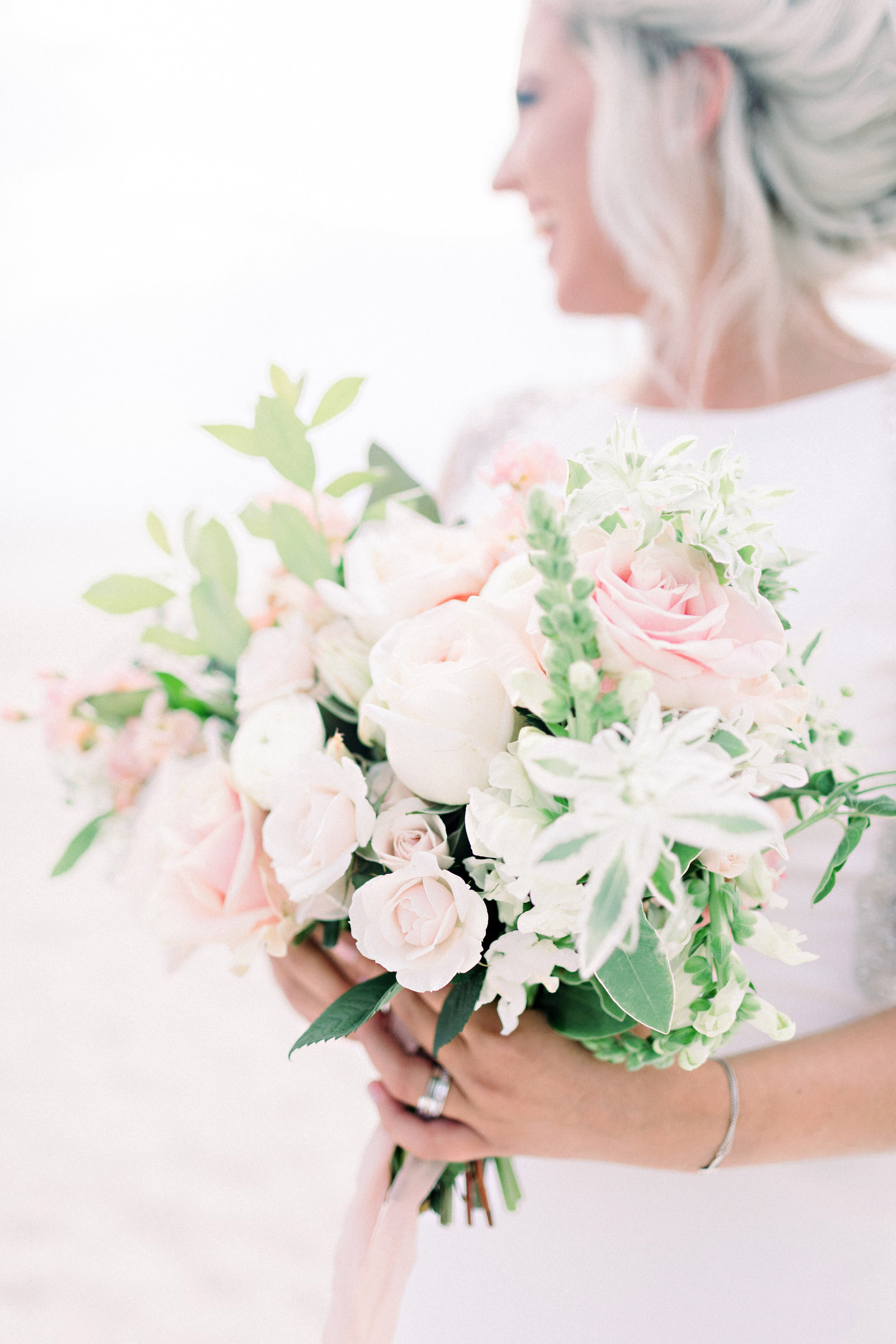 light and airy beach wedding bouquet