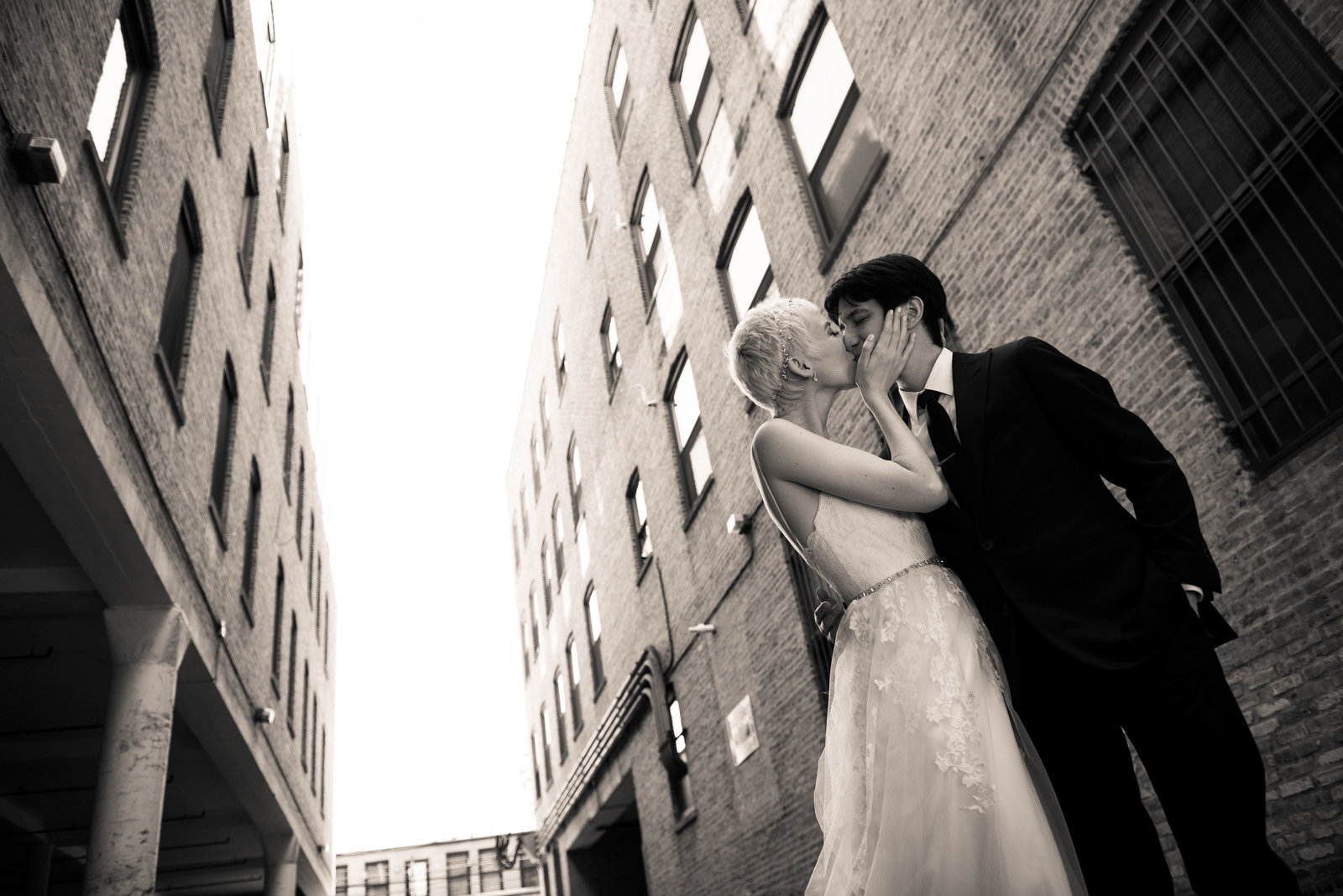 Urban bride and groom portrait, Chicago.