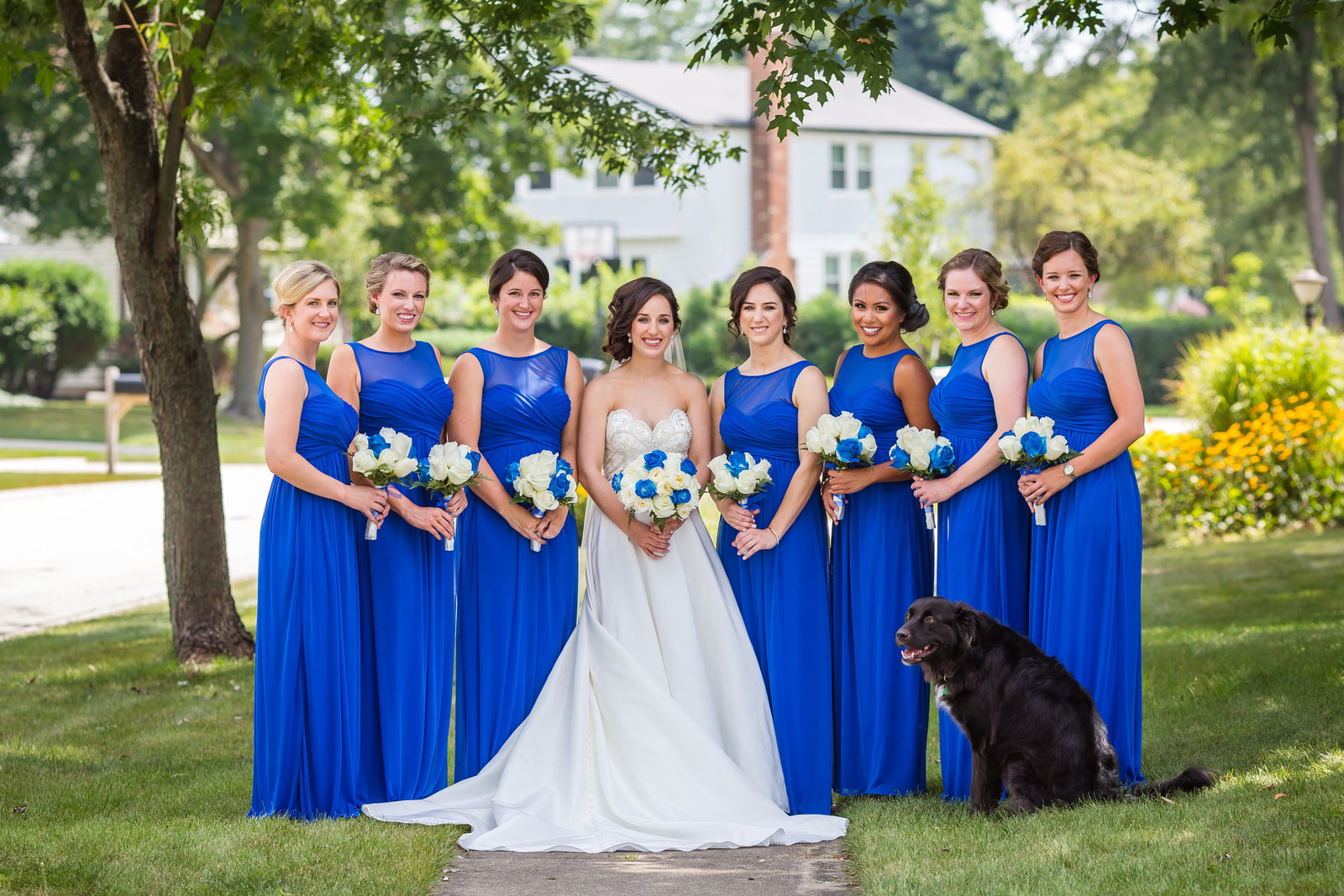 Bridesmaids with dog