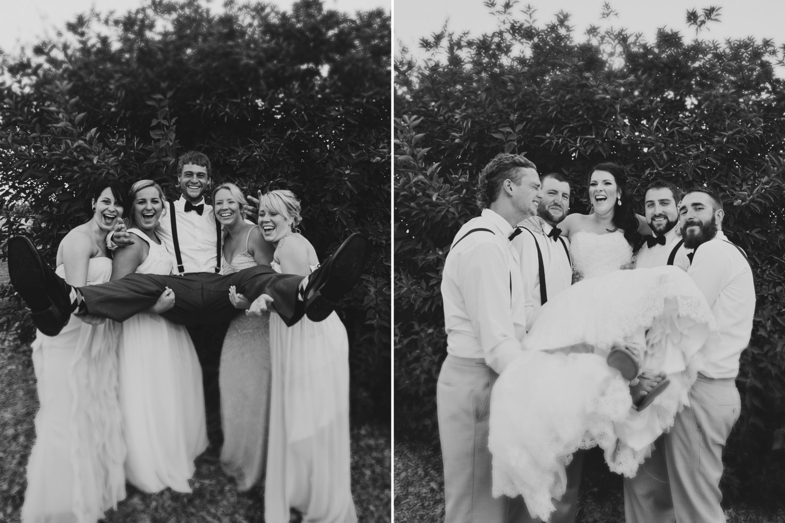 Fun bridal party photos of bridal party carrying bride and groom in black and white photo | Susie Moreno Photography