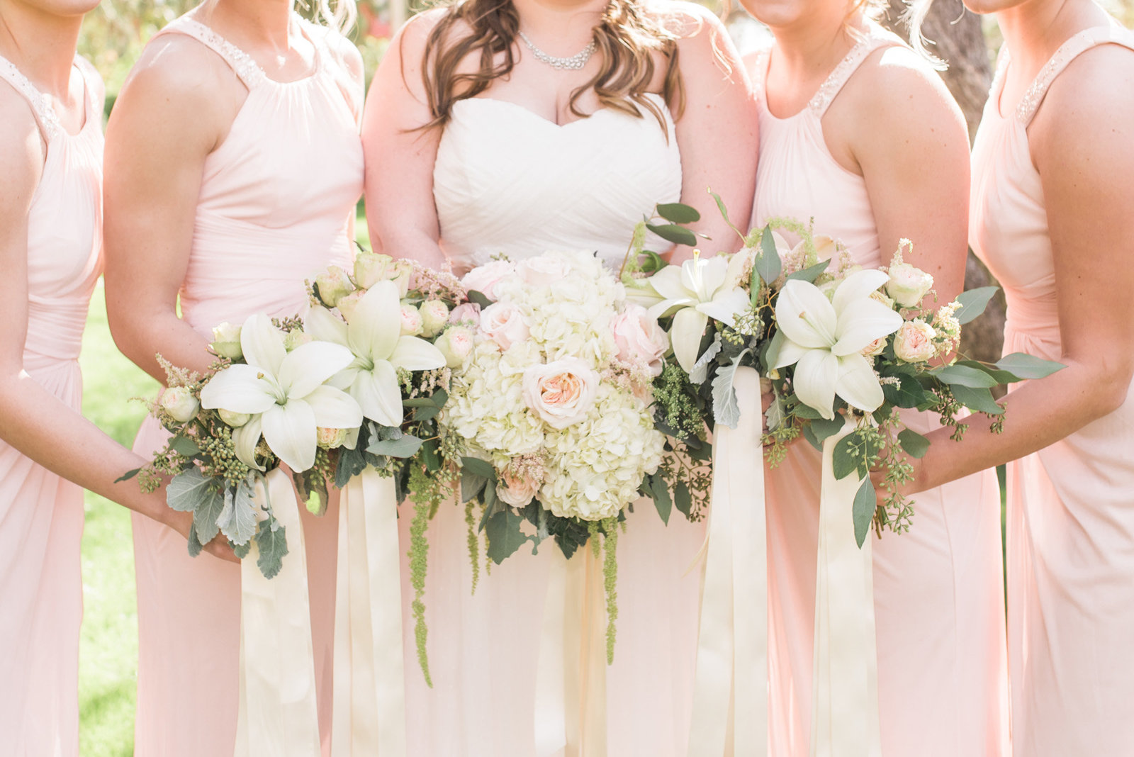 windmill winery blush pink wedding photo of bride and bridesmaids